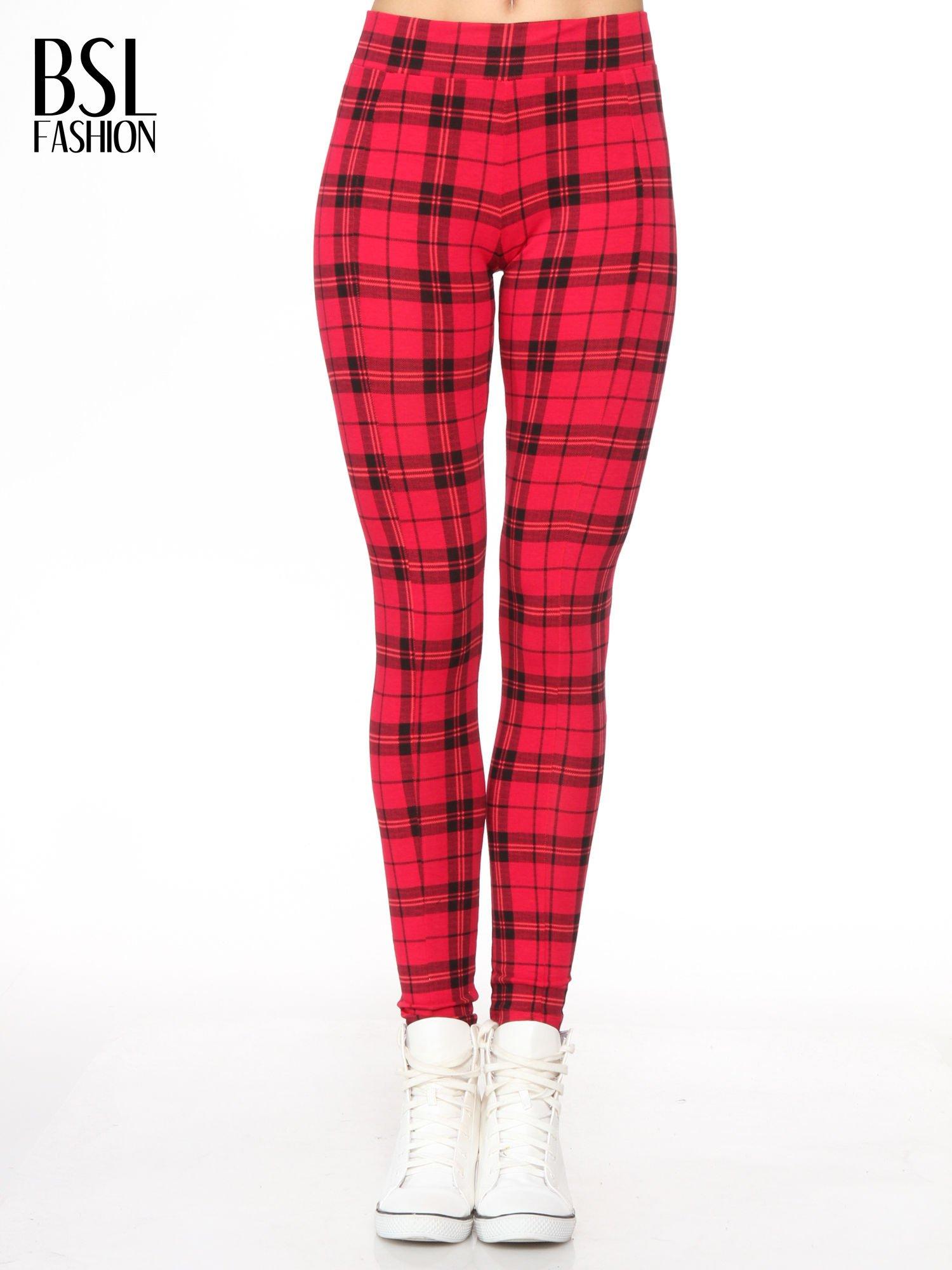 Czerwone legginsy w kratę                                  zdj.                                  1