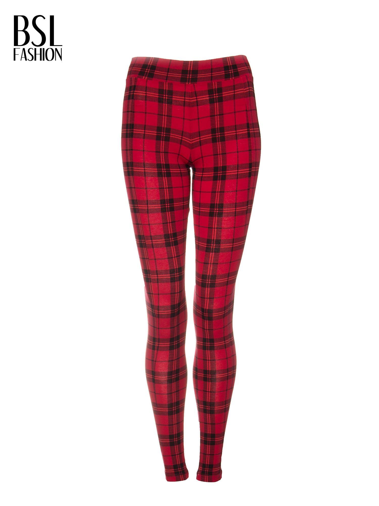 Czerwone legginsy w kratę                                  zdj.                                  5