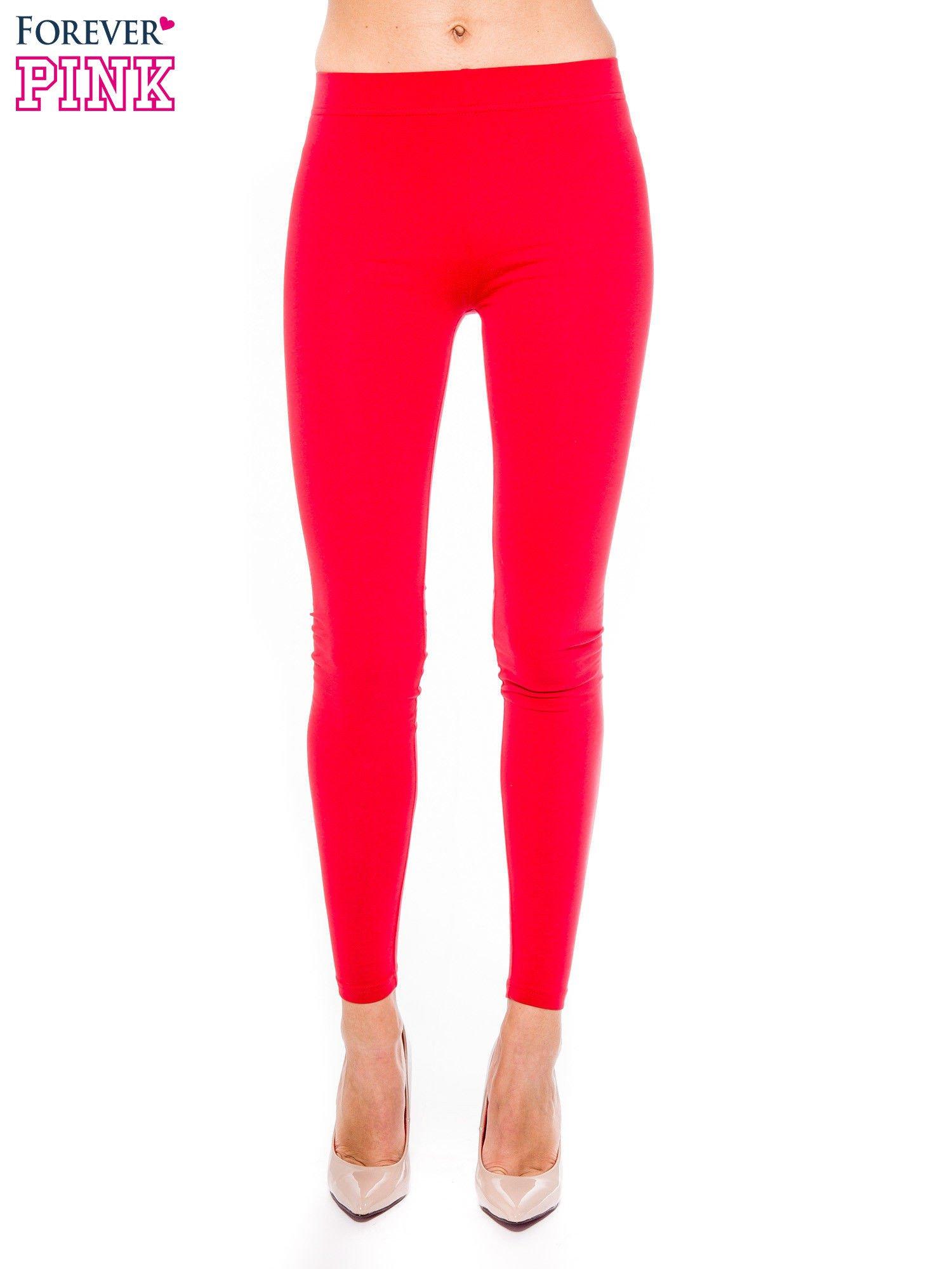 Czerwone legginsy z bawełny                                  zdj.                                  1