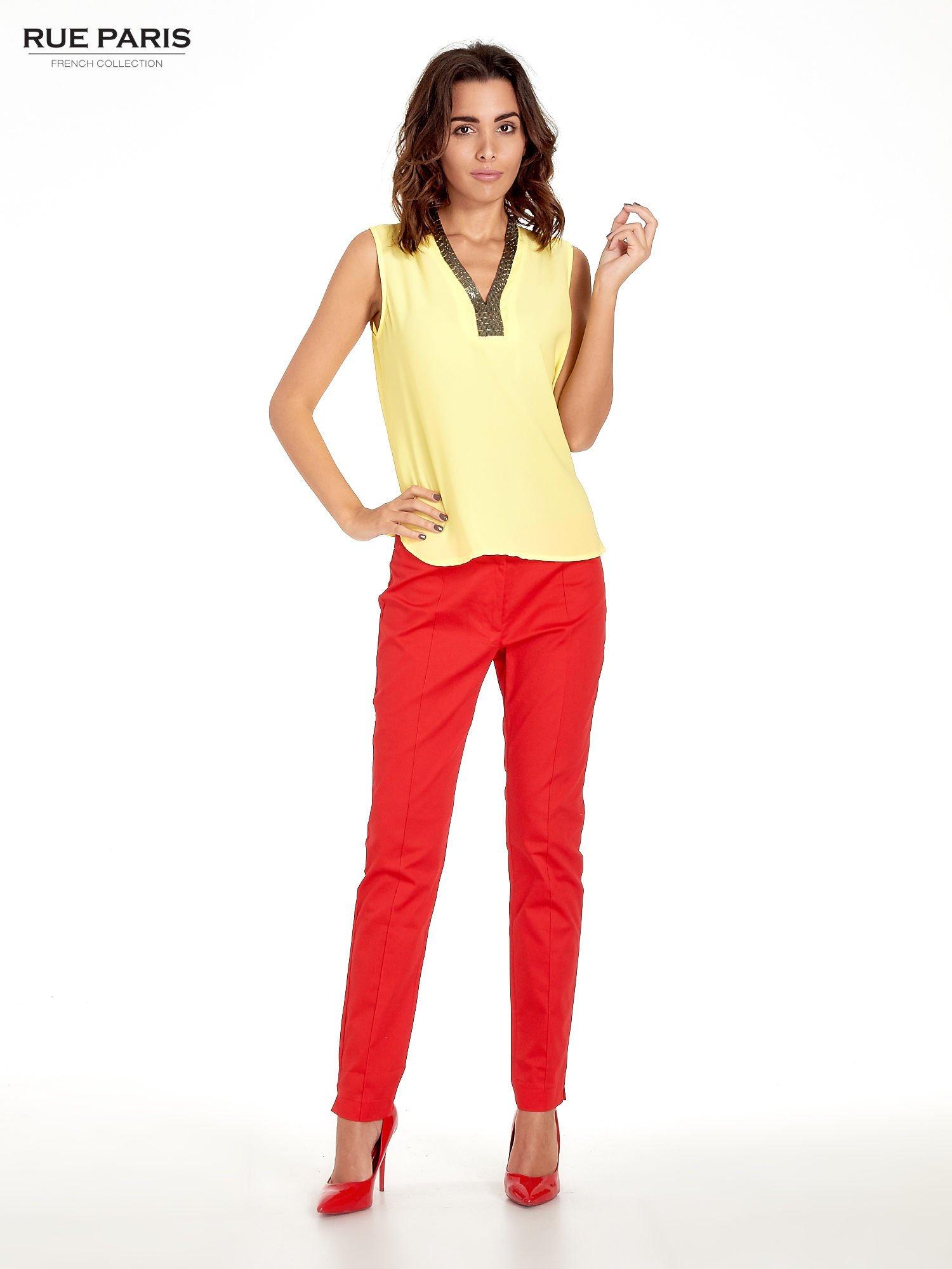 Czerwone spodnie cygaretki w kant                                  zdj.                                  6