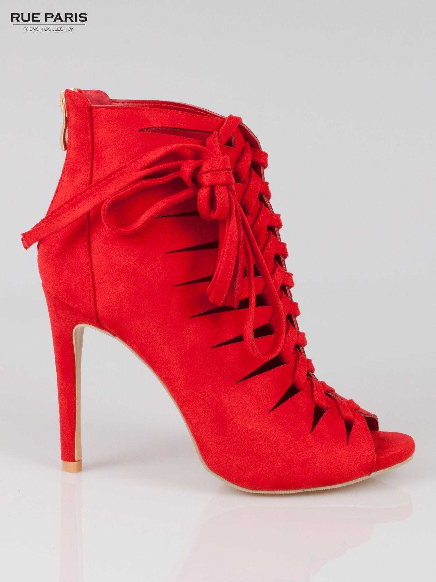 Czerwone sznurowane botki lace up z zamkiem                                  zdj.                                  1