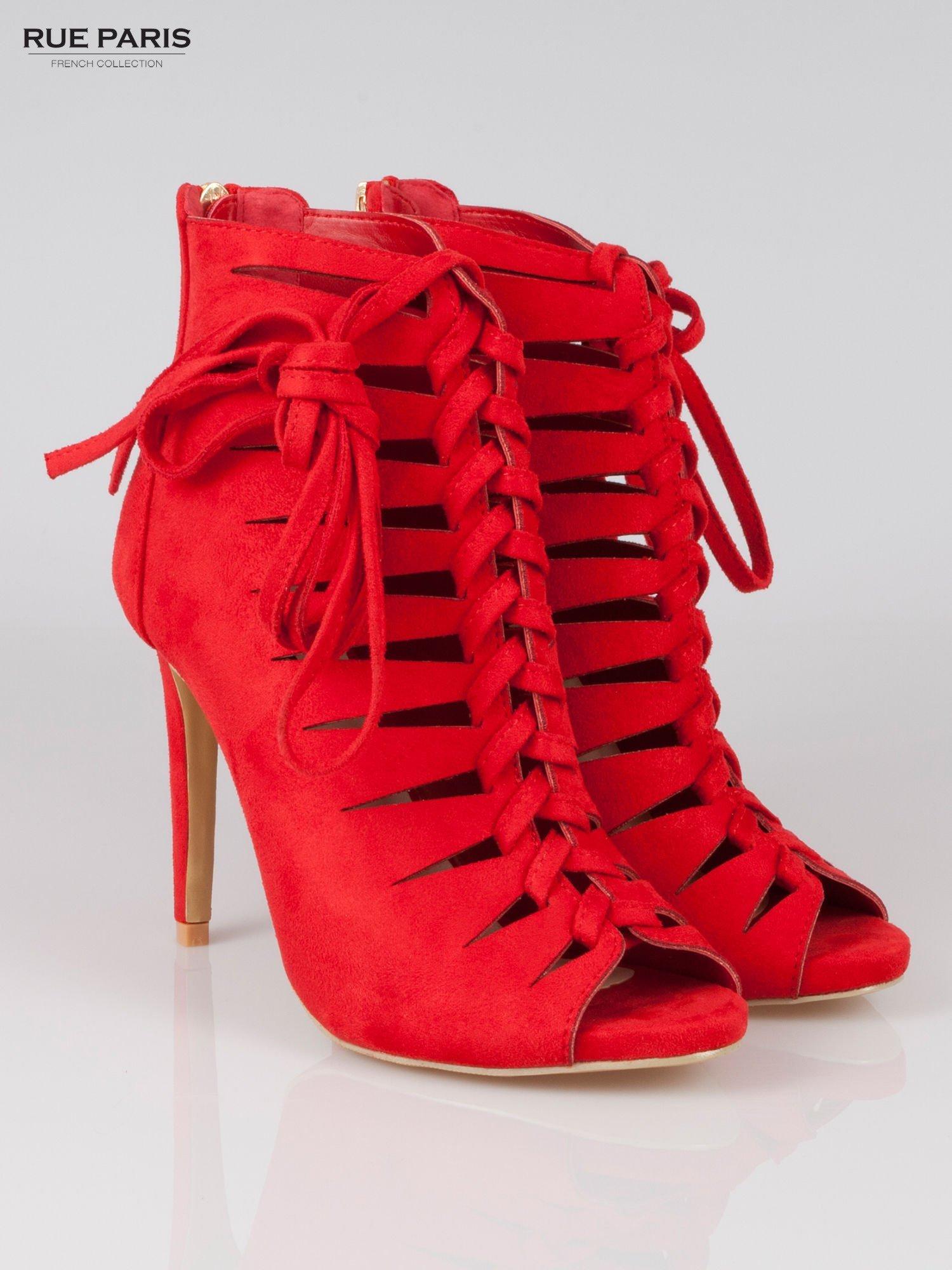 Czerwone sznurowane botki lace up z zamkiem                                  zdj.                                  2