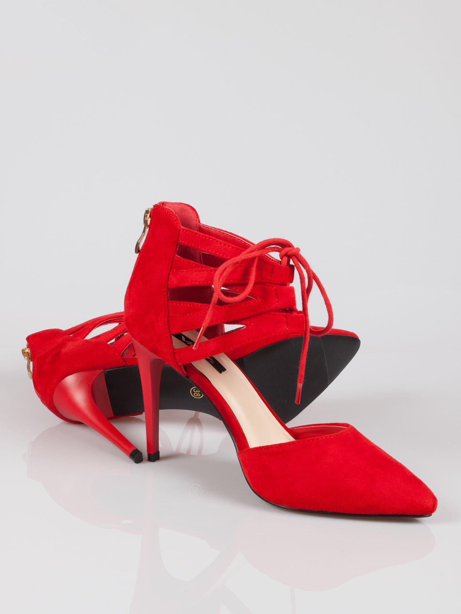 Czerwone zamszowe szpilki lace up z wiązaniem faux suede                                  zdj.                                  4