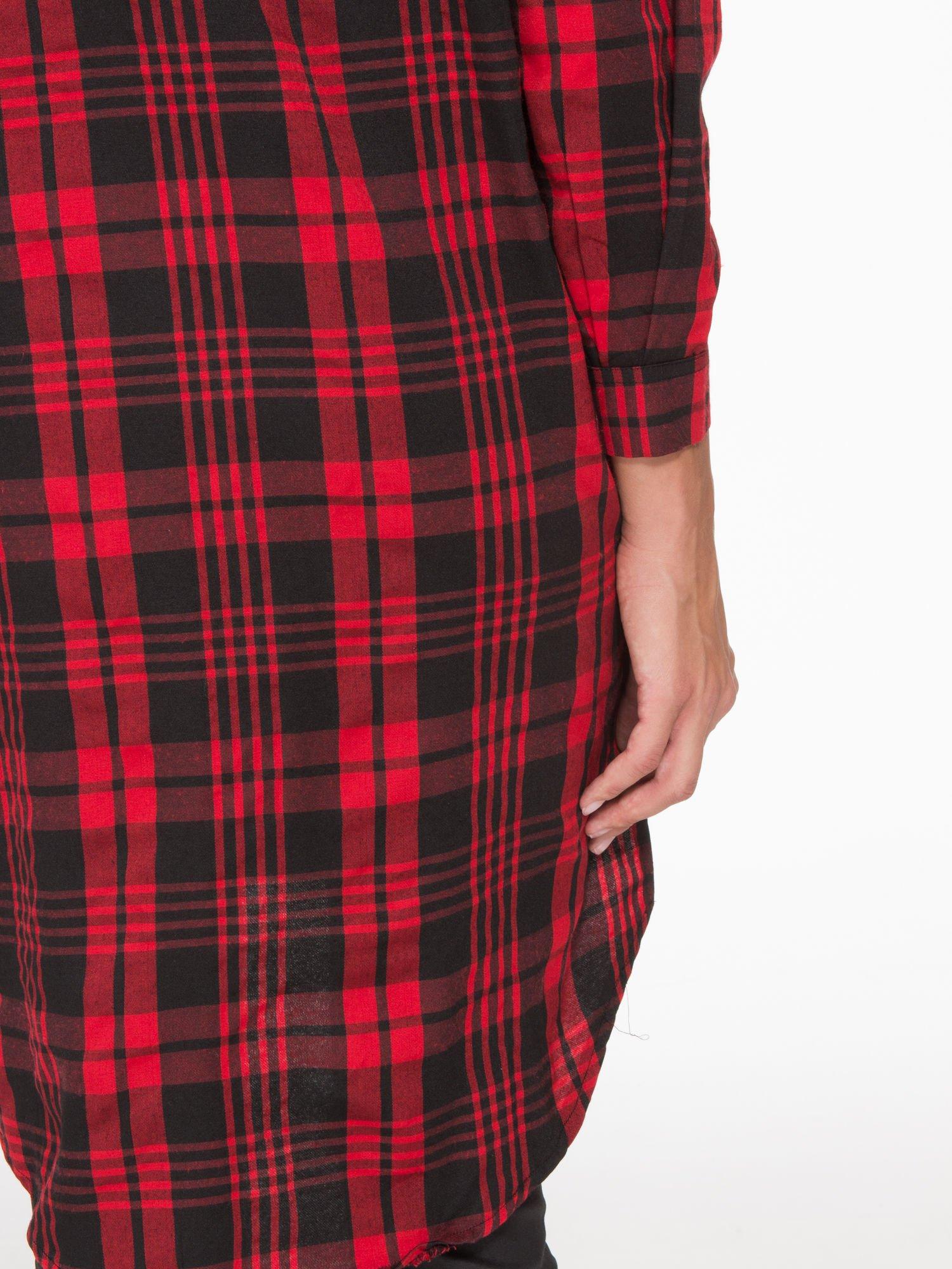 Czerwono-czarna długa koszula w kratę z kieszeniami                                  zdj.                                  7