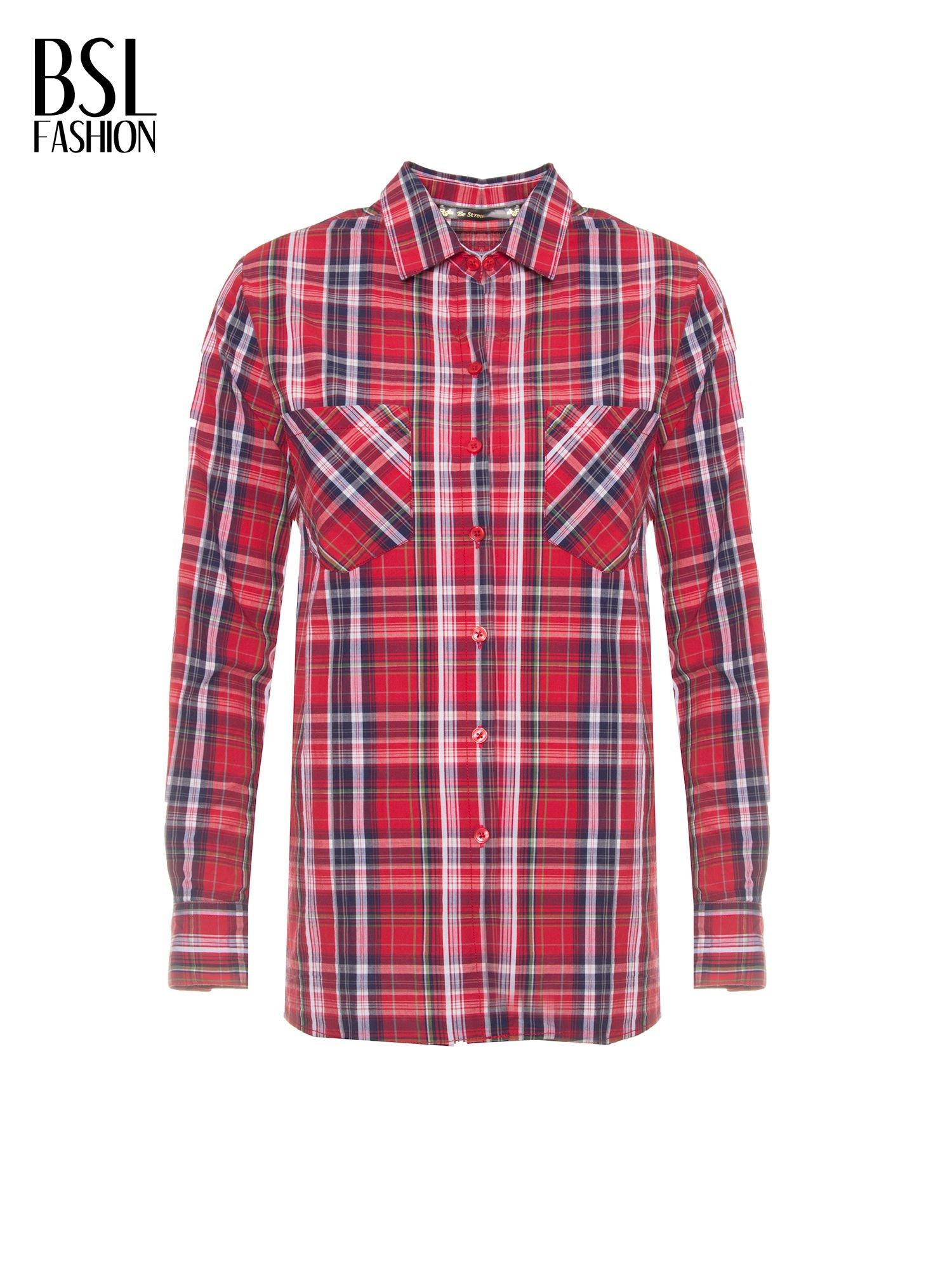 Czerwono-granatowa klasyczna koszula w kratkę z kieszeniami                                  zdj.                                  2
