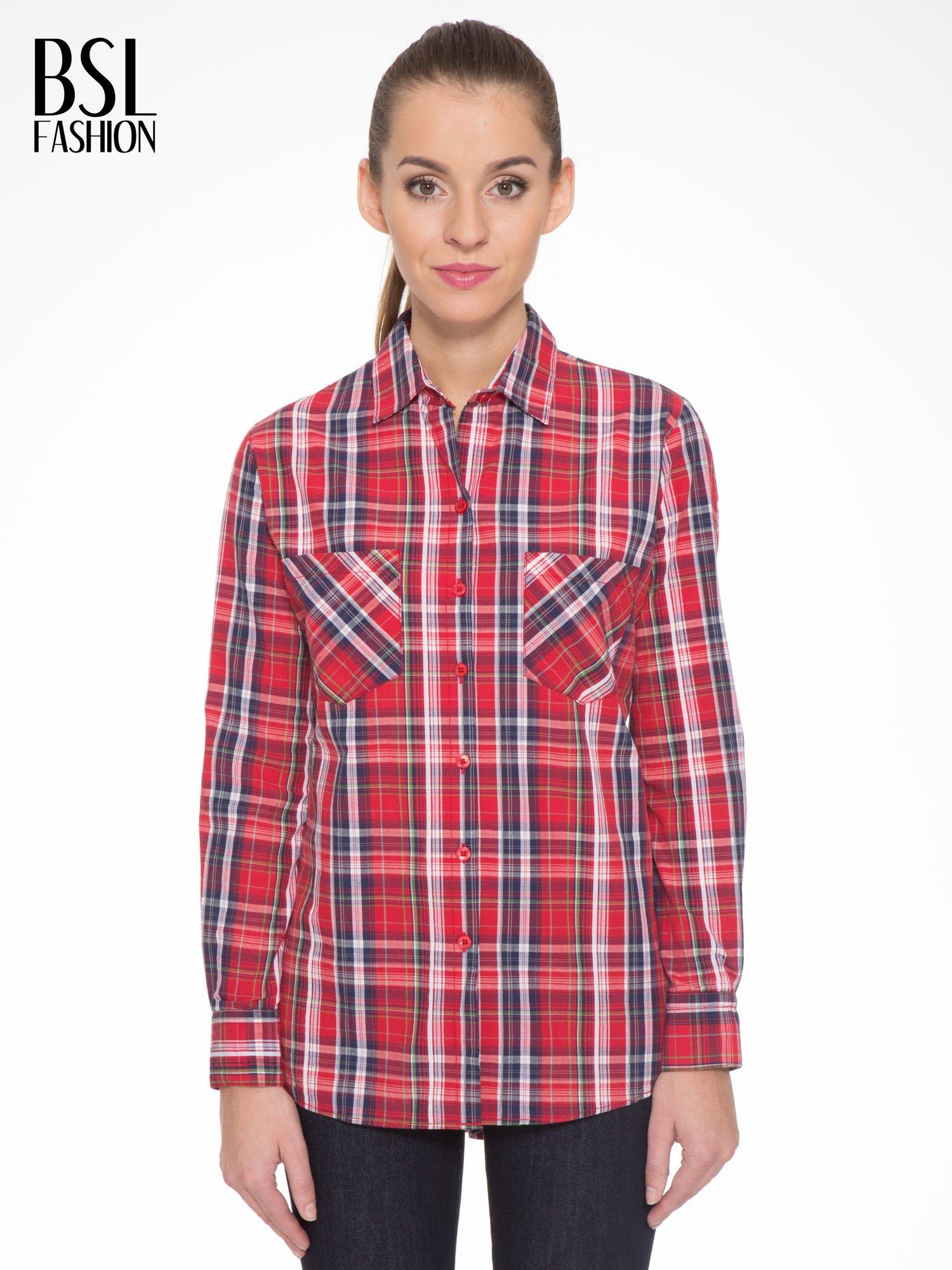 Czerwono-granatowa klasyczna koszula w kratkę z kieszeniami                                  zdj.                                  1