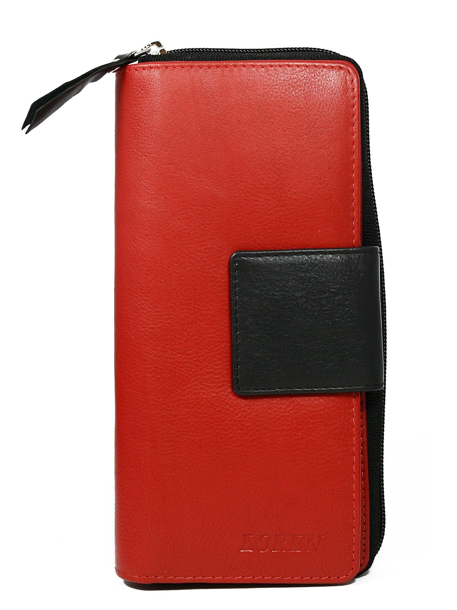 ab38c2657db5b Czerwony duży portfel skórzany z czarnym wykończeniem - Akcesoria portfele  - sklep eButik.pl