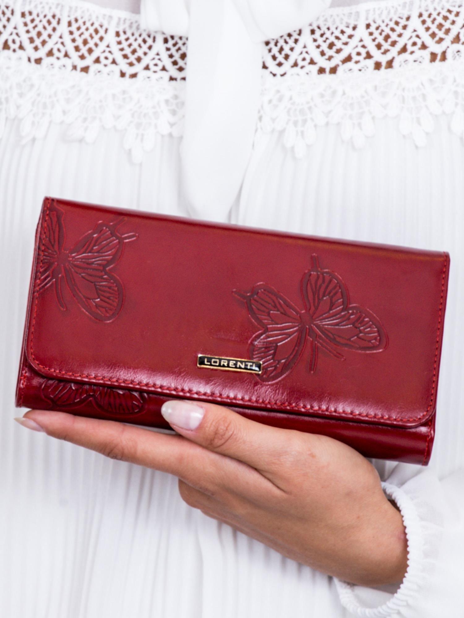16c21791676609 Czerwony portfel damski w motyle - Akcesoria portfele - sklep eButik.pl