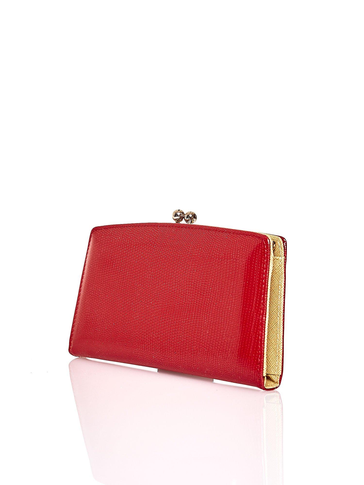 Czerwony portfel z motywem skóry węża z biglem                                  zdj.                                  2