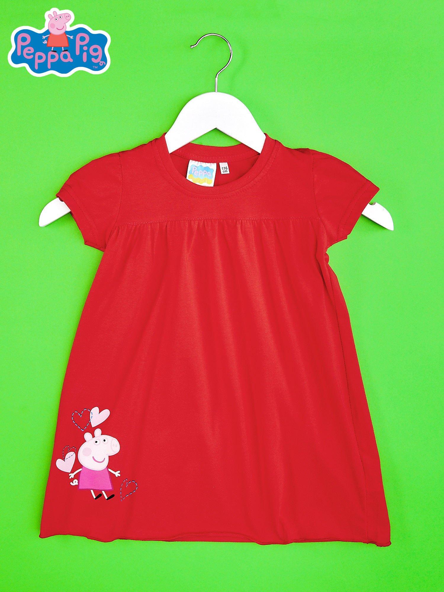 Czerwony t-shirt dla dziewczynki ŚWINKA PEPPA                                  zdj.                                  1