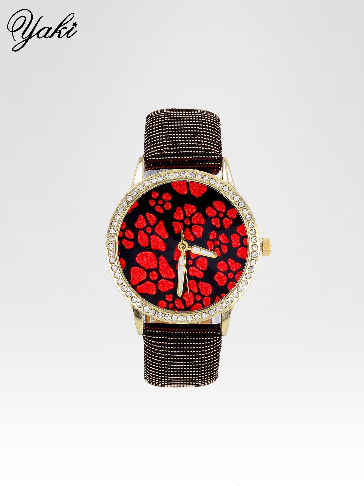 Czerwony zegarek damski na błyszczącym paski z cyrkoniami na kopercie                                  zdj.                                  1