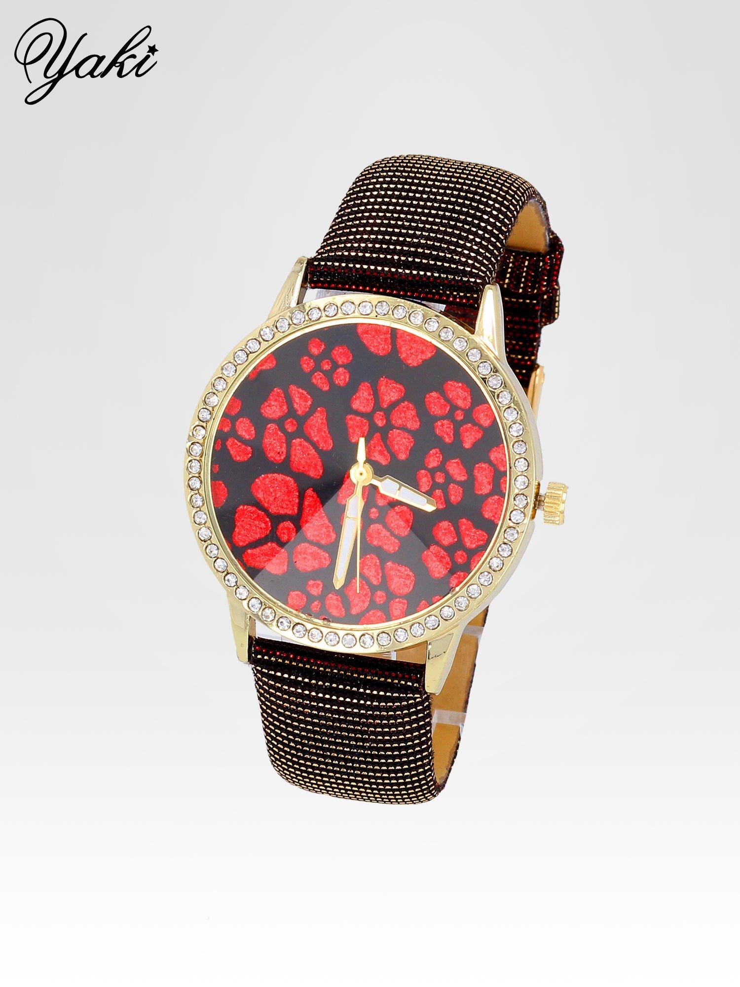 Czerwony zegarek damski na błyszczącym paski z cyrkoniami na kopercie                                  zdj.                                  2