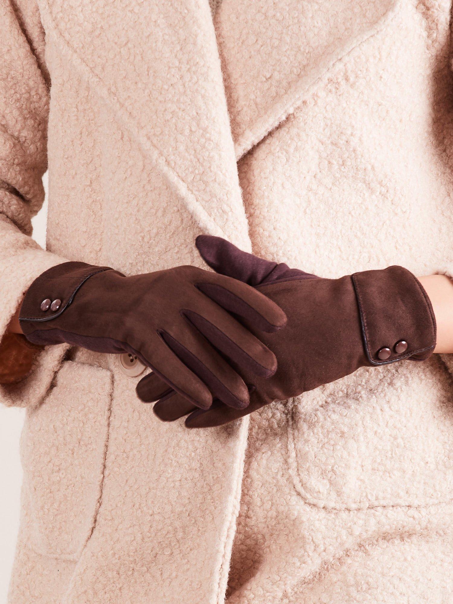 4cab46625559d DOTYKOWE ZIMOWE Eleganckie Zamszowo-bawełniane rękawiczki damskie -  Akcesoria rękawiczki - sklep eButik.pl