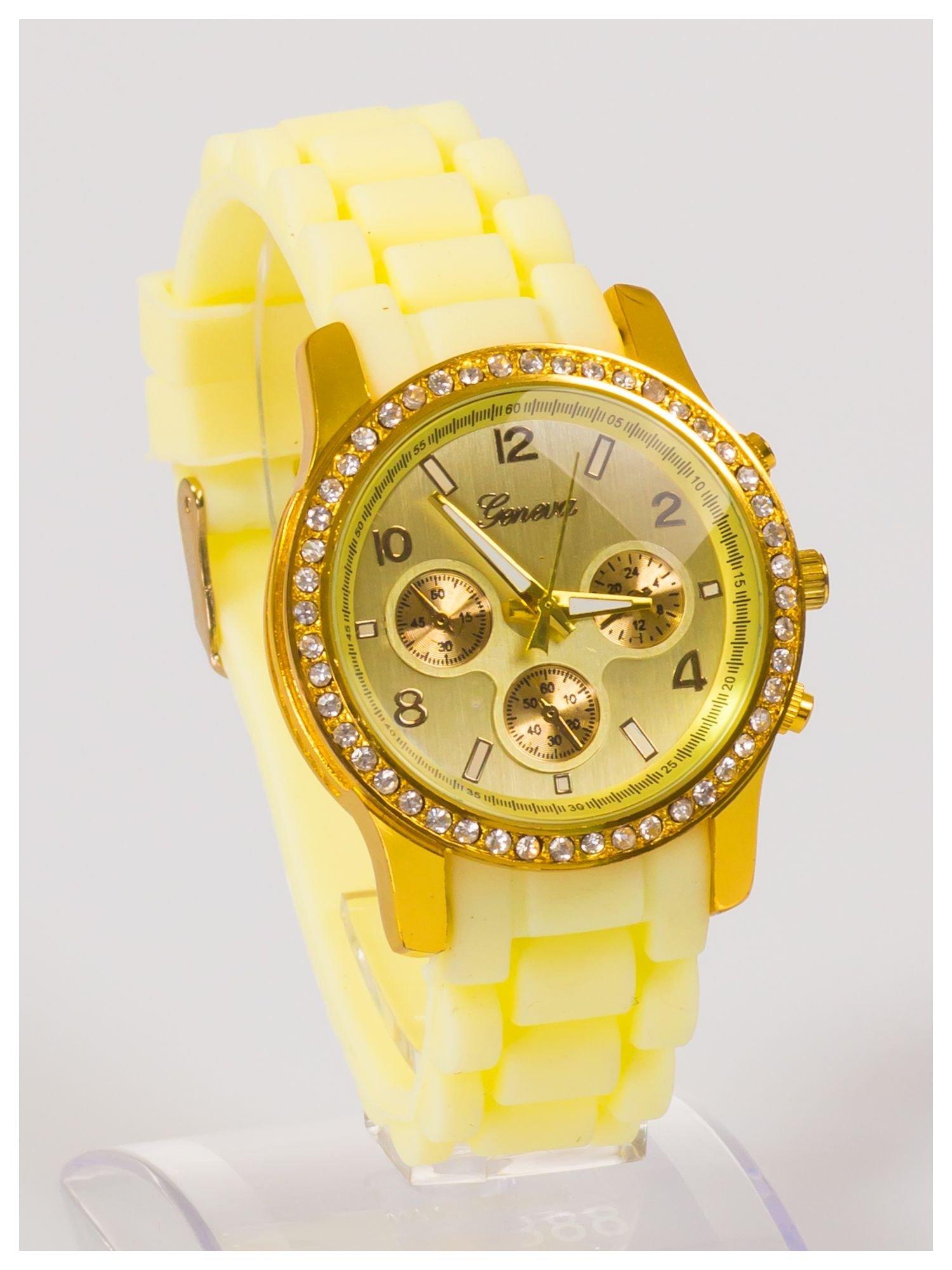 Damski zegarek z cyrkoniami i ozdobnym chronografem na wygodnym silikonowym pasku                                  zdj.                                  2