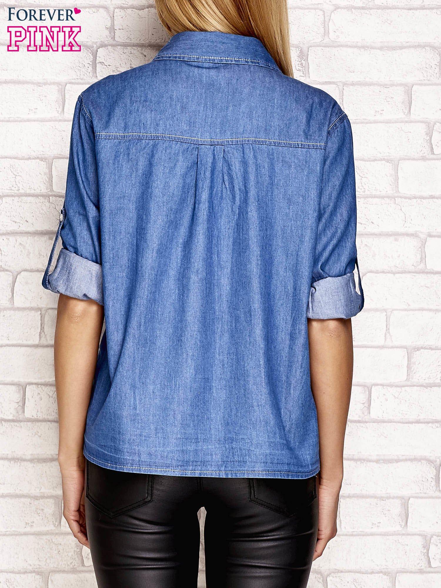 Denimowa koszula z kieszeniami niebieska