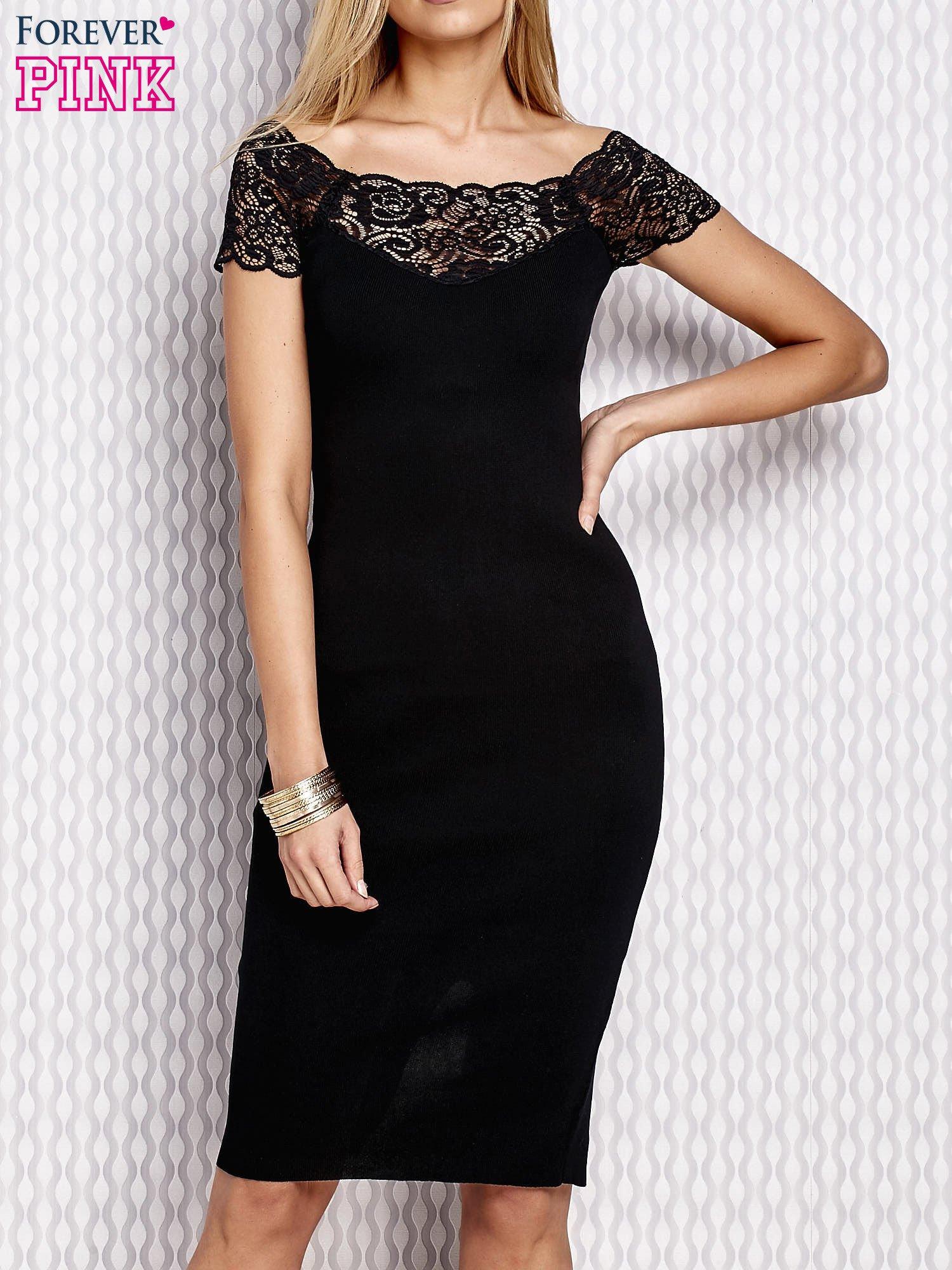 6913da6d61 Dopasowana sukienka z koronkową wstawką czarna - Sukienka wieczorowa ...