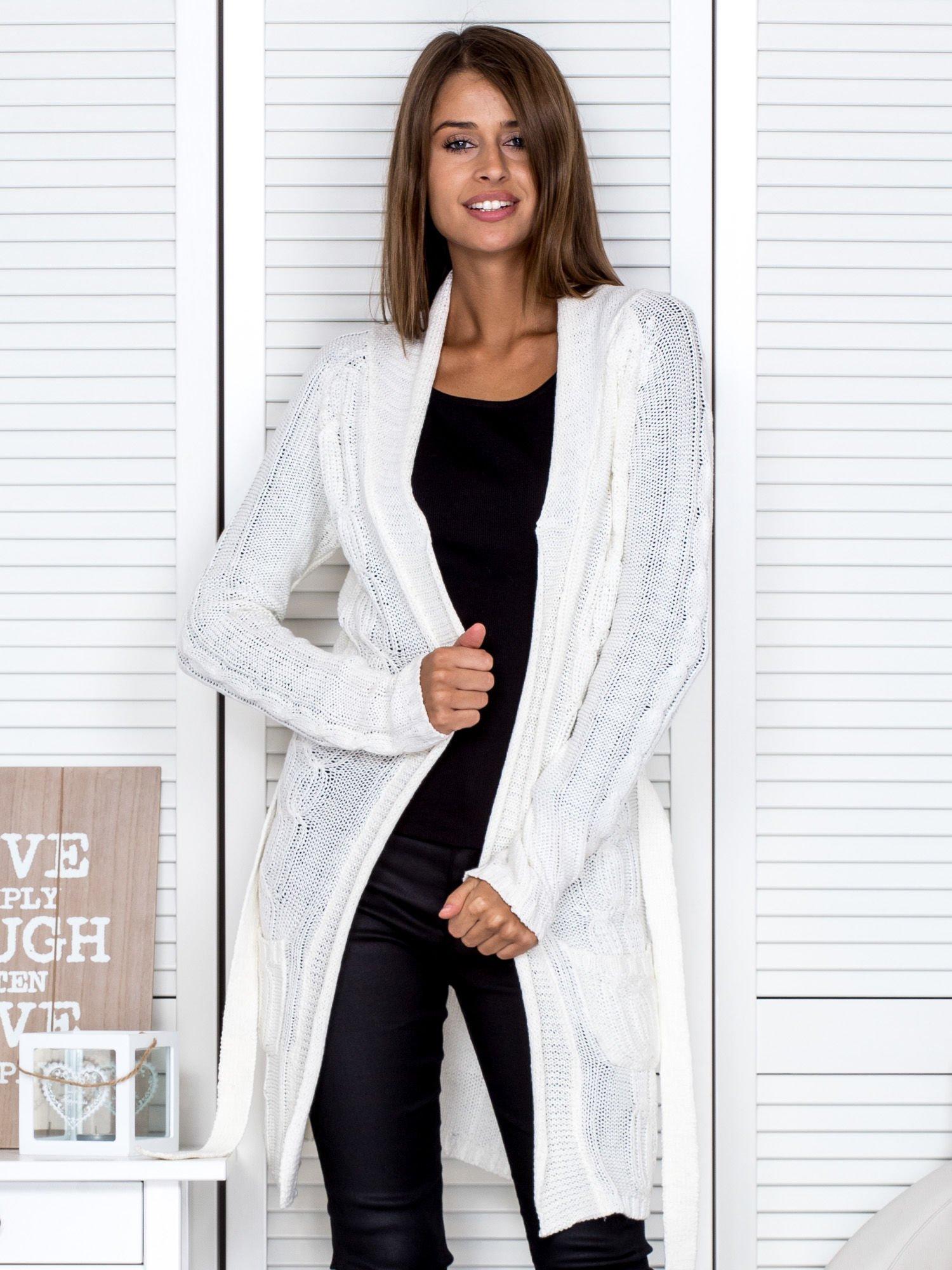 Ecru ażurowy długi sweter typu kardigan z paskiem                                  zdj.                                  5