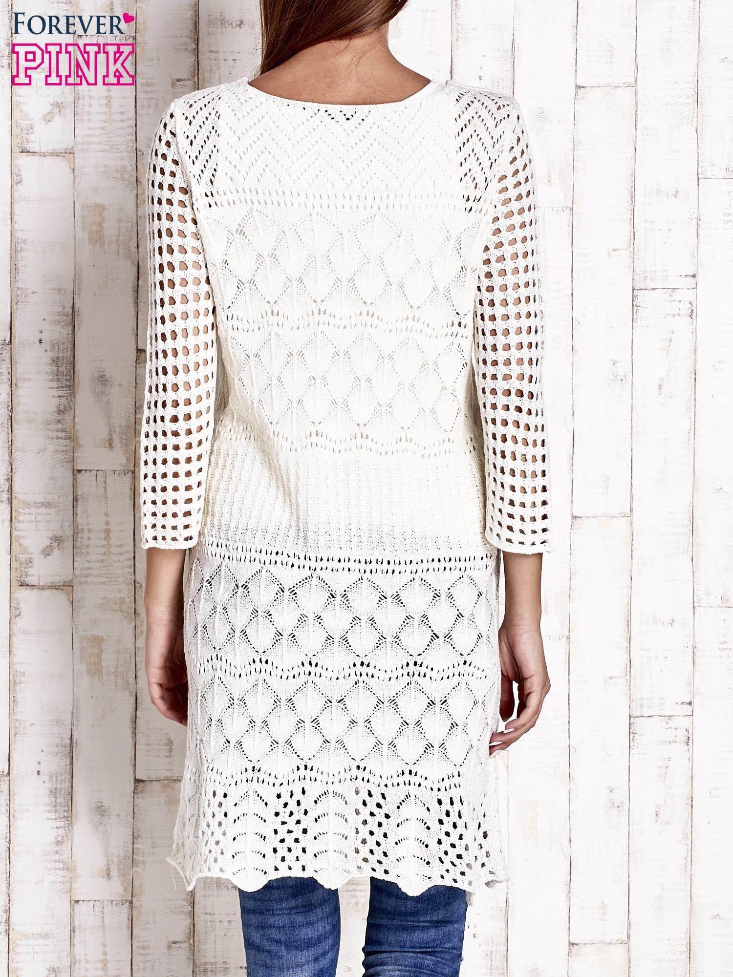 Ecru ażurowy sweter sukienka                                   zdj.                                  4