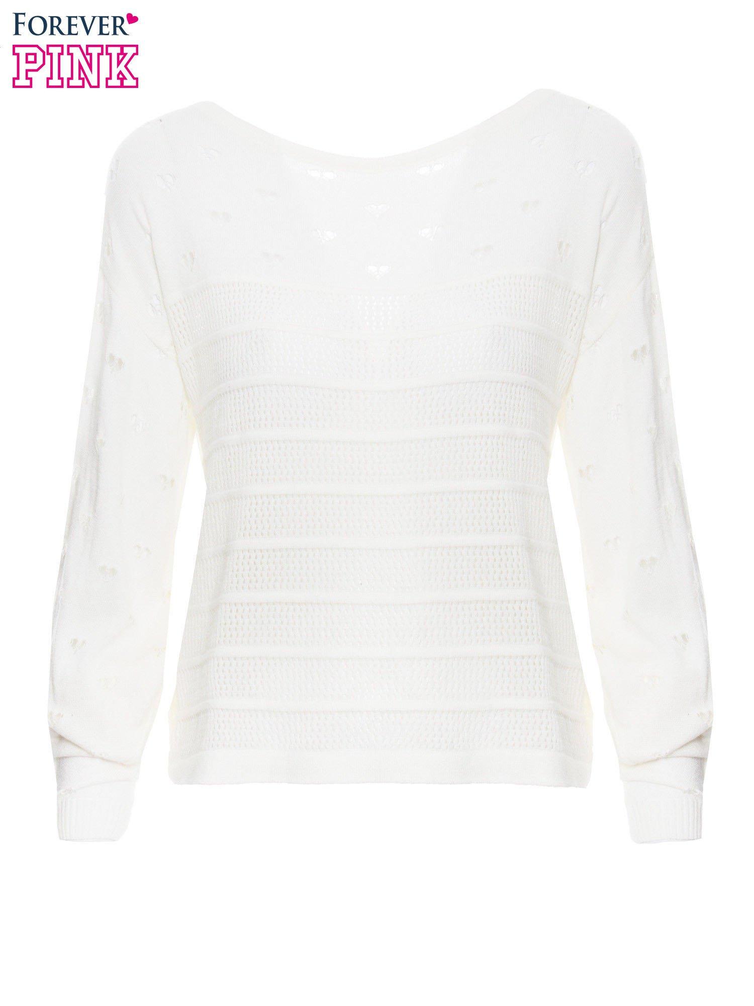 Ecru ażurowy sweter w serduszka                                  zdj.                                  2