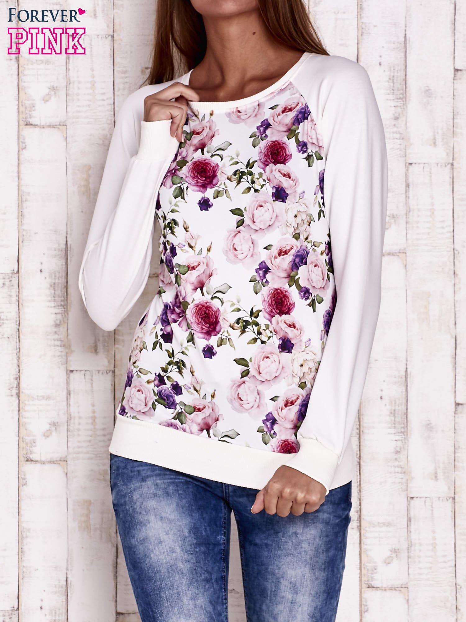 Ecru bluza z motywem róż                                  zdj.                                  1