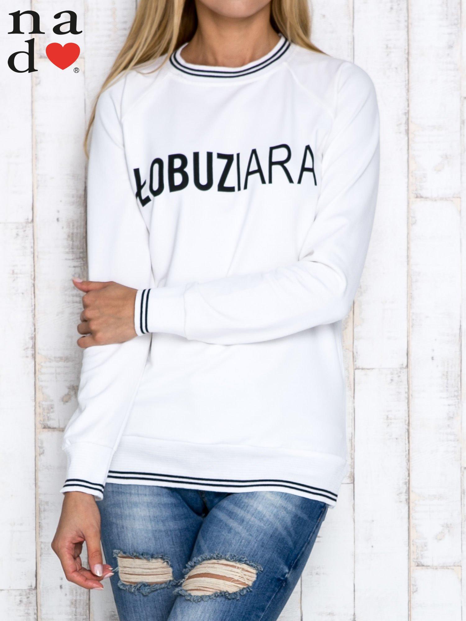 Ecru bluza z napisem ŁOBUZIARA                                  zdj.                                  1
