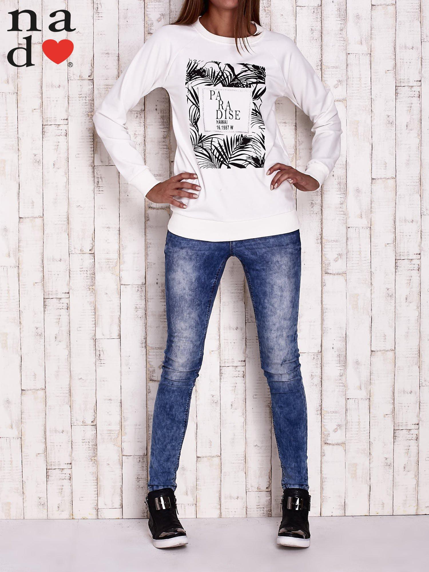 Ecru bluza z napisem PARADISE                                  zdj.                                  2