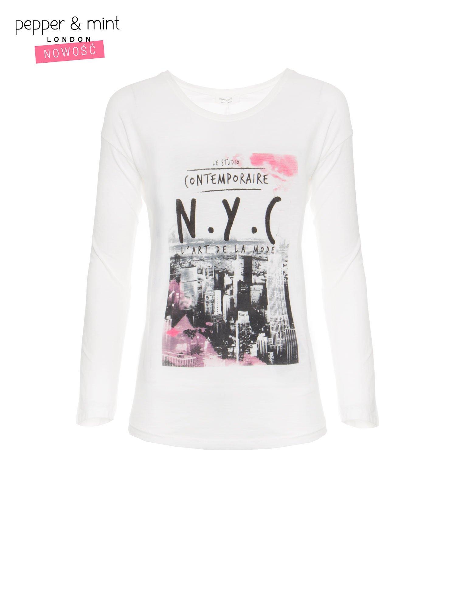 Ecru bluzka z nadrukiem NEW YORK CITY                                  zdj.                                  5