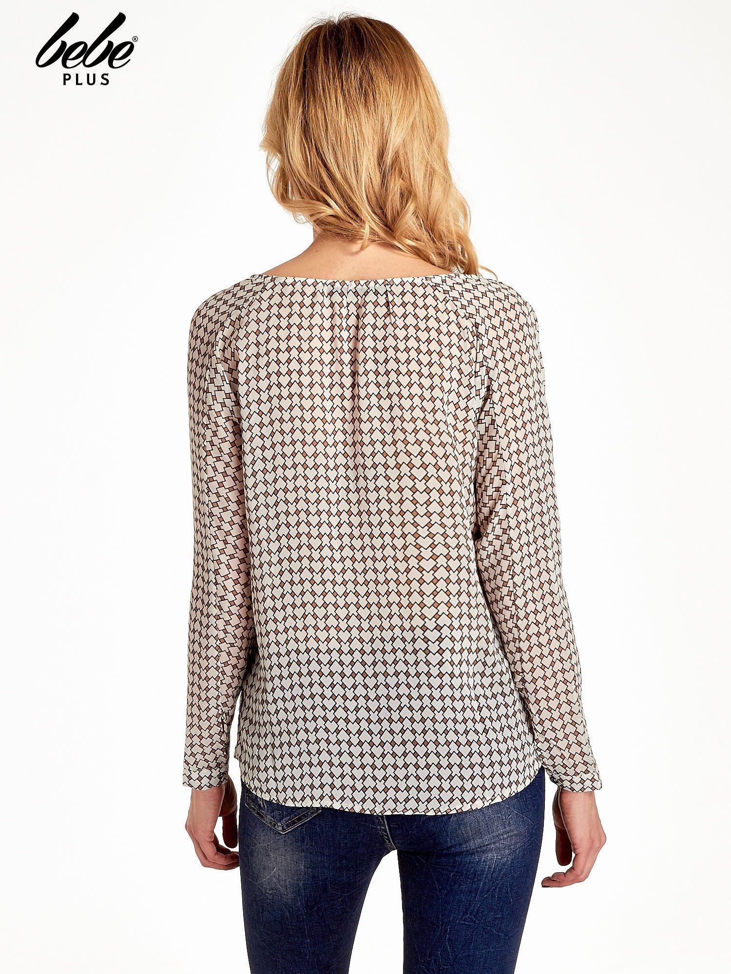 Ecru-brązowa koszula w geometryczne wzory                                  zdj.                                  4