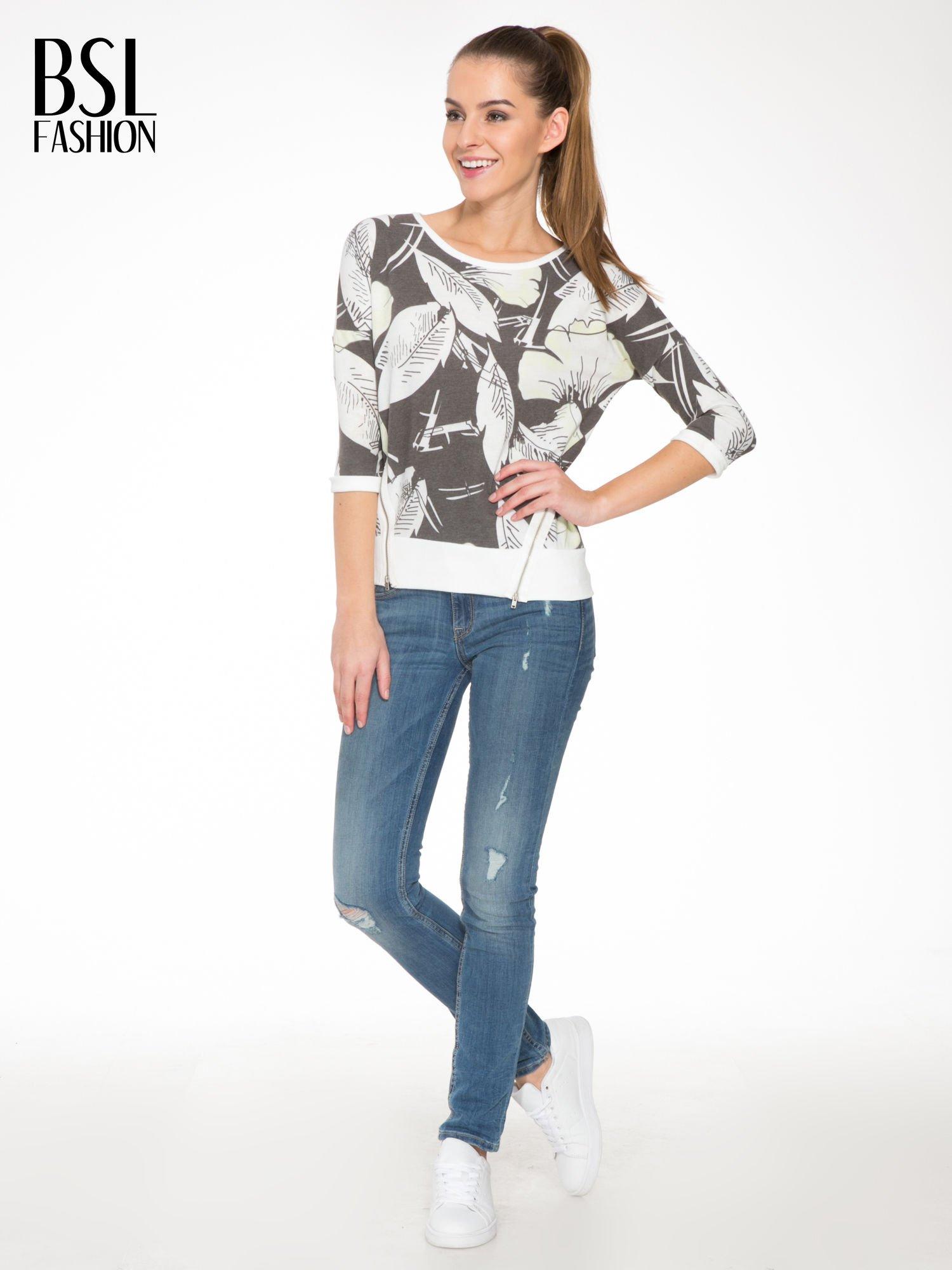 Ecru-czarna bluza z nadrukiem floral print i suwakami                                  zdj.                                  2