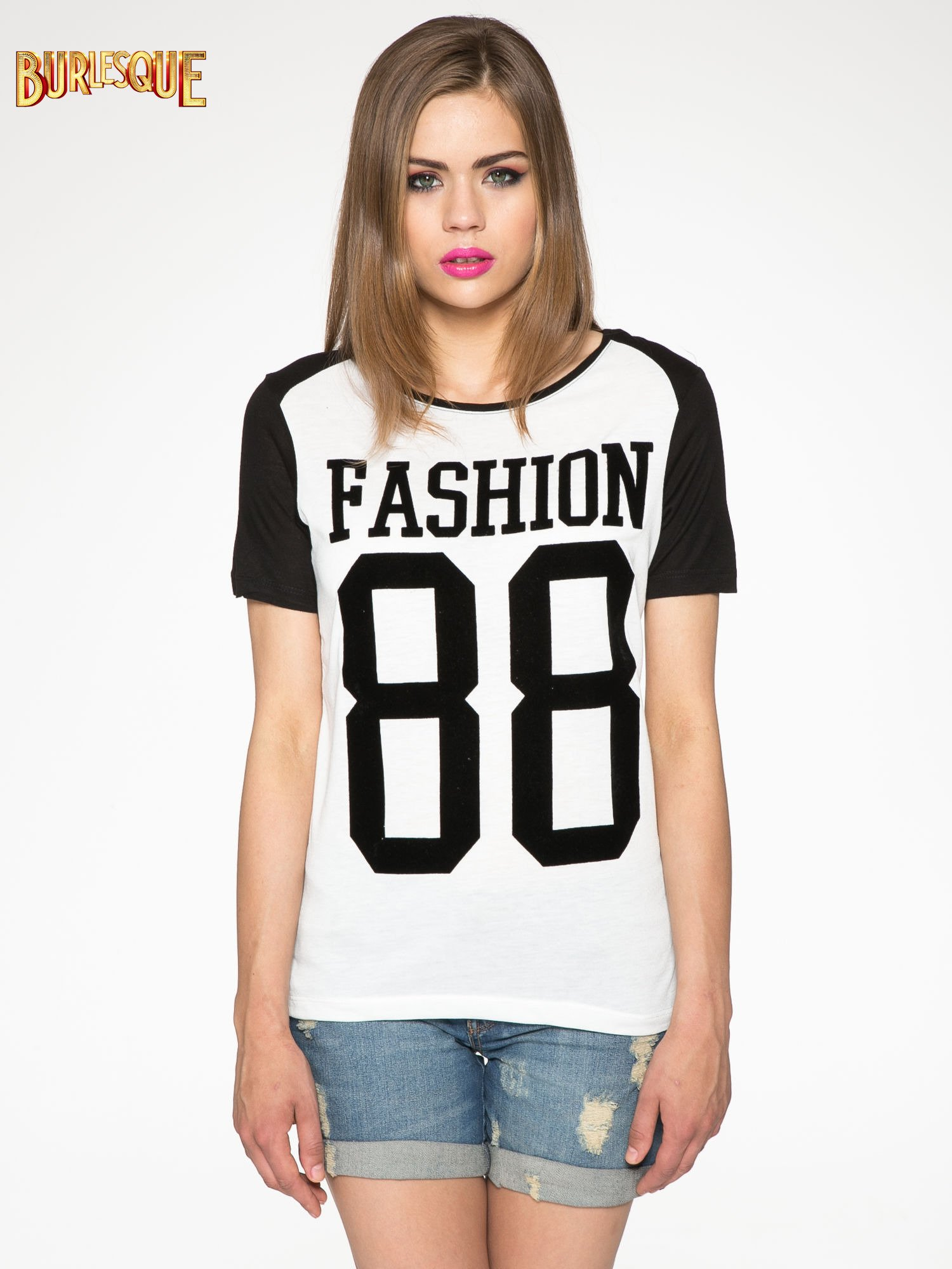 Ecru-czarny t-shirt z nadrukiem FASHION 88                                  zdj.                                  12