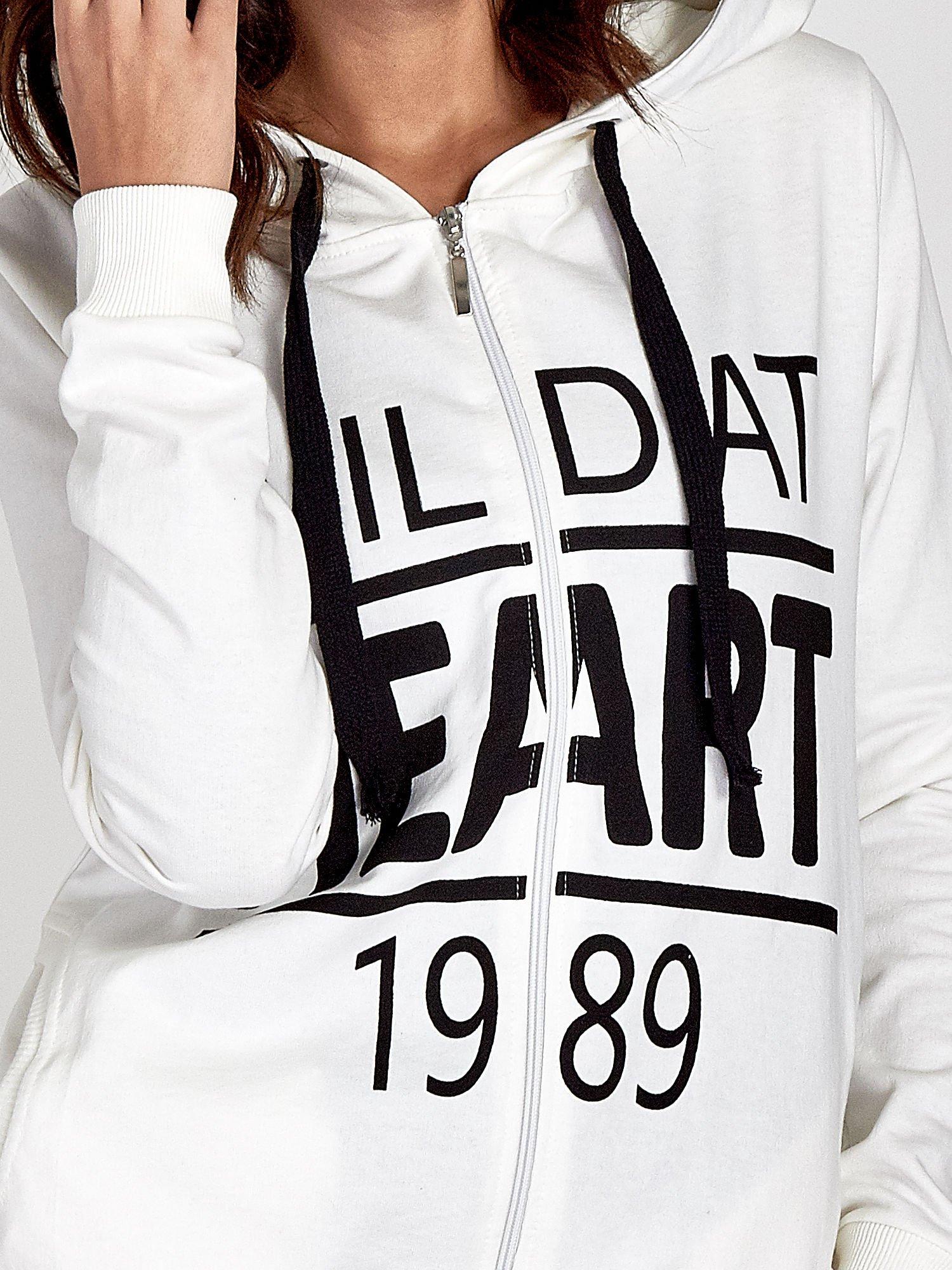 Ecru damska bluza z kapturem i napisem WILD AT HEART 1989                                  zdj.                                  6