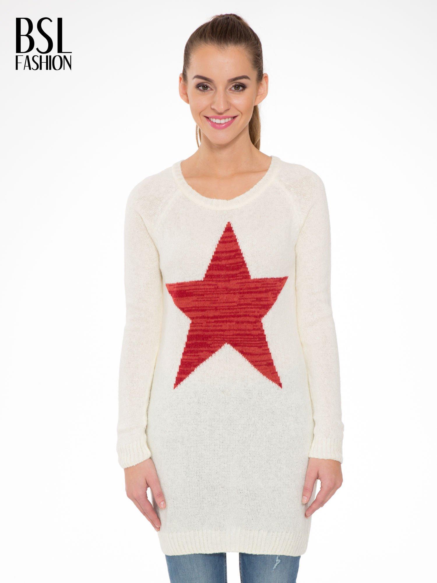 Ecru długi sweter z nadrukiem gwiazdy                                  zdj.                                  1