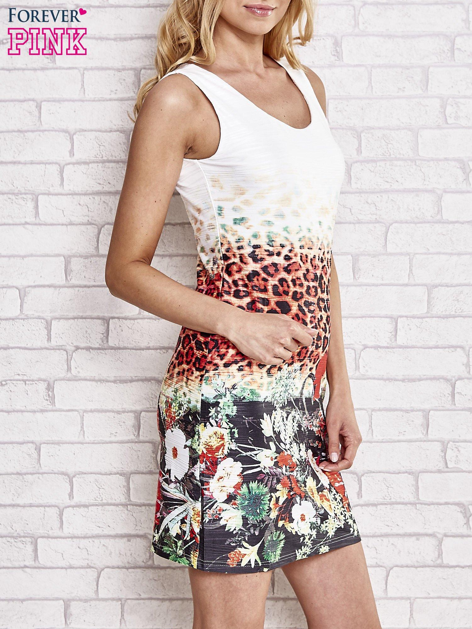 Ecru dopasowana sukienka z motywem pantery                                  zdj.                                  3