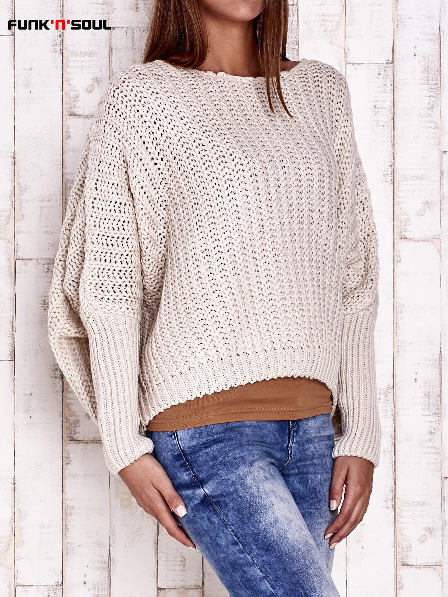 Ecru dziergany sweter oversize FUNK N SOUL                                  zdj.                                  4