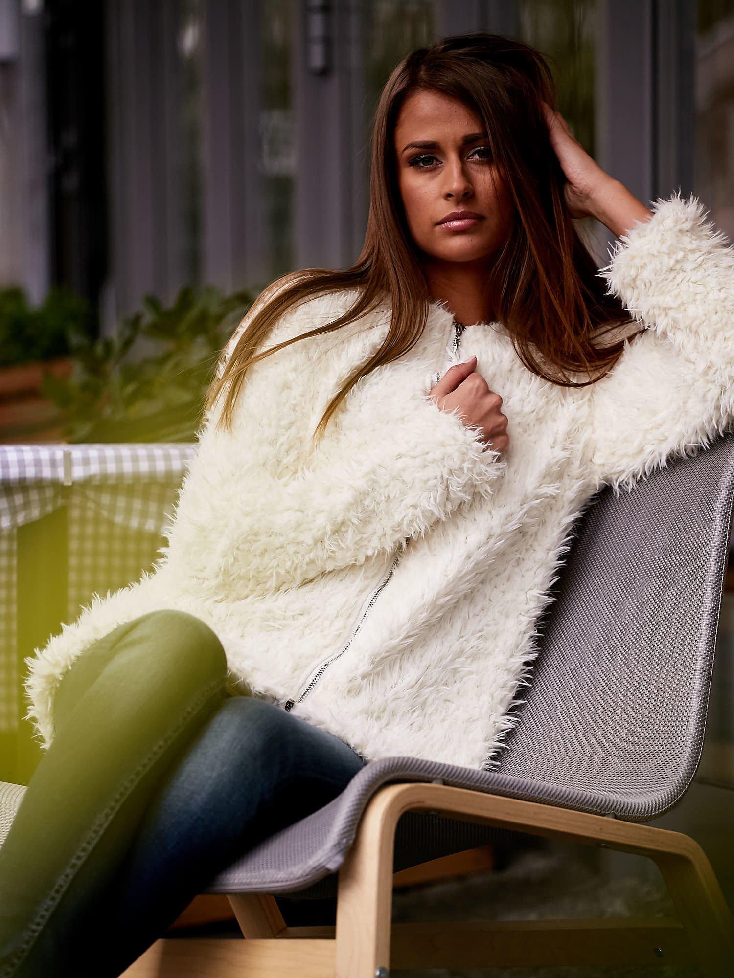 Ecru futrzany sweter kurtka na suwak                                  zdj.                                  1