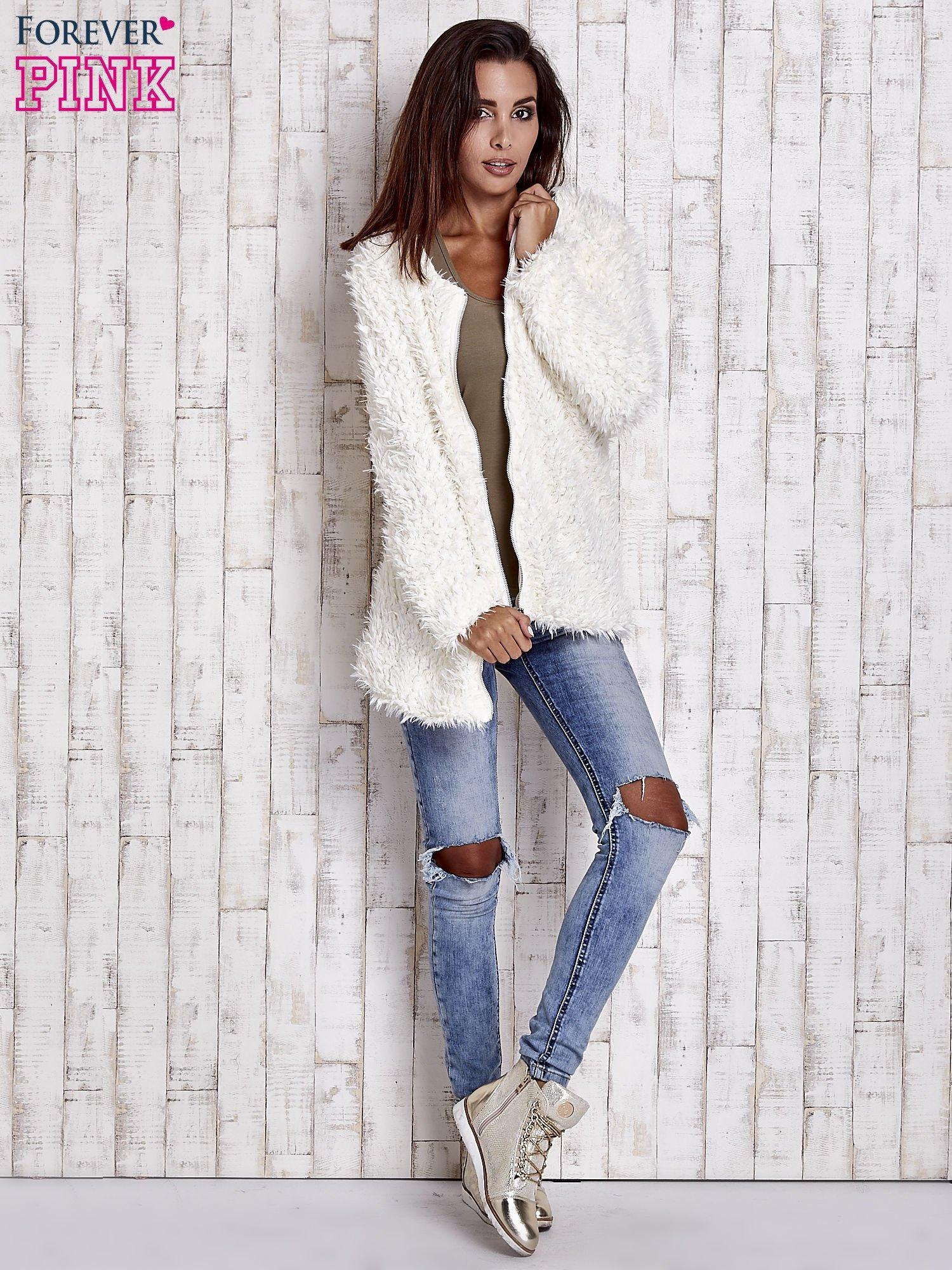 Ecru futrzany sweter kurtka na suwak                                  zdj.                                  9