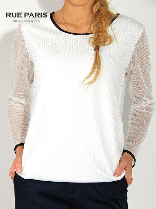 Ecru pikowana bluza z siateczkowymi rękawami                                  zdj.                                  2