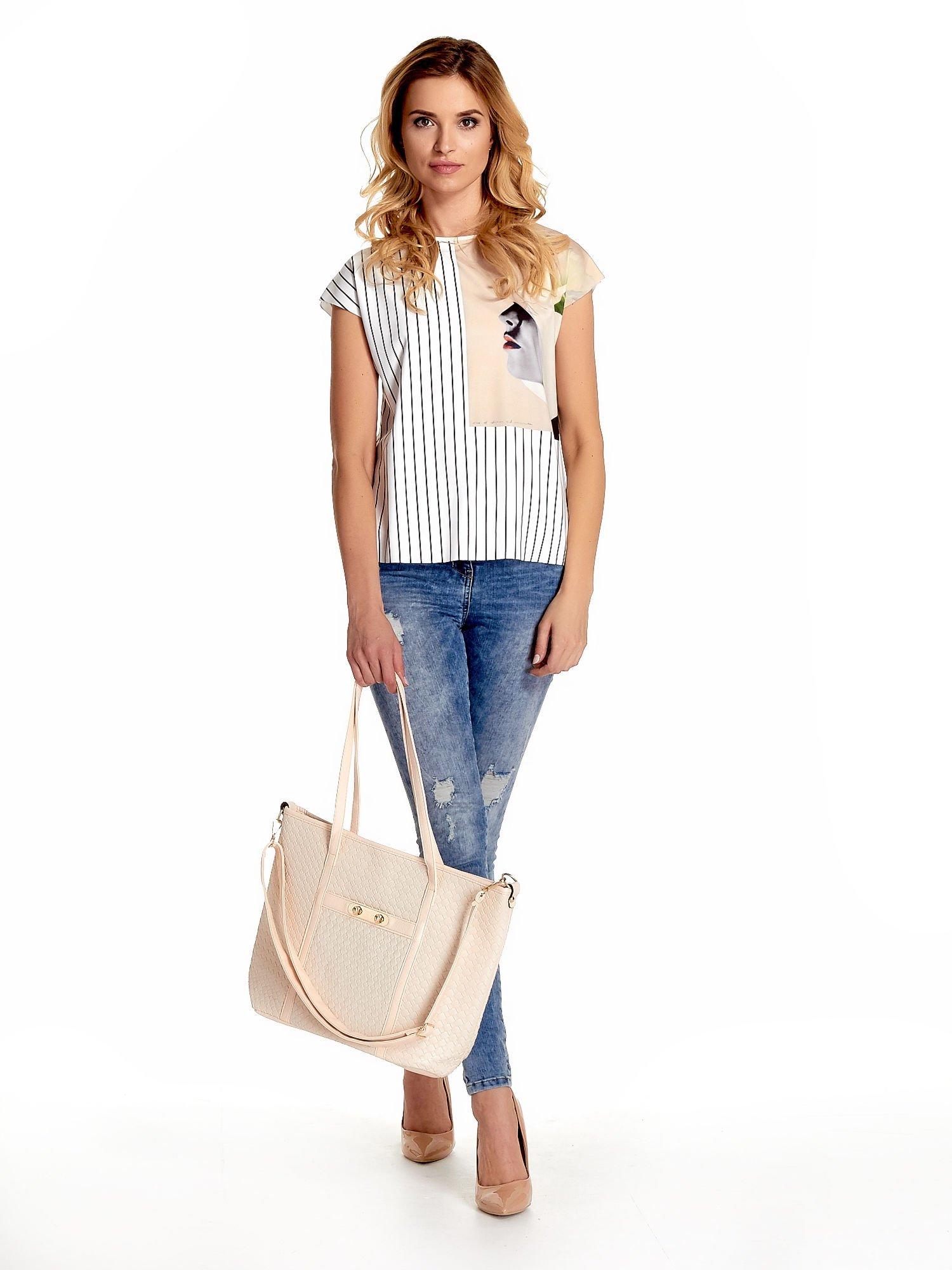 Ecru pleciona torba shopper bag ze złotym detalem                                  zdj.                                  2