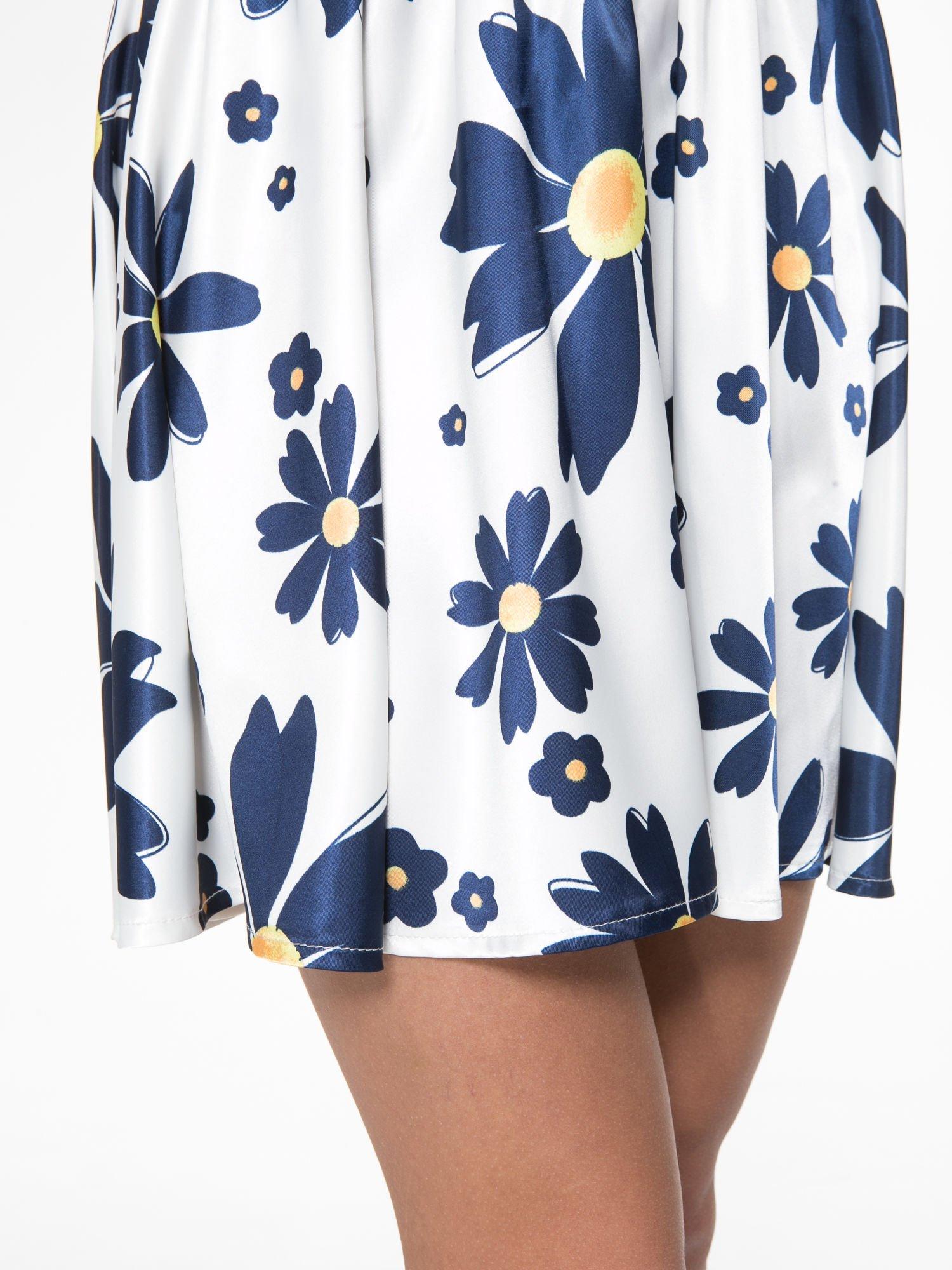 Ecru rozkloszowana spódnica skater w kwiaty                                  zdj.                                  9