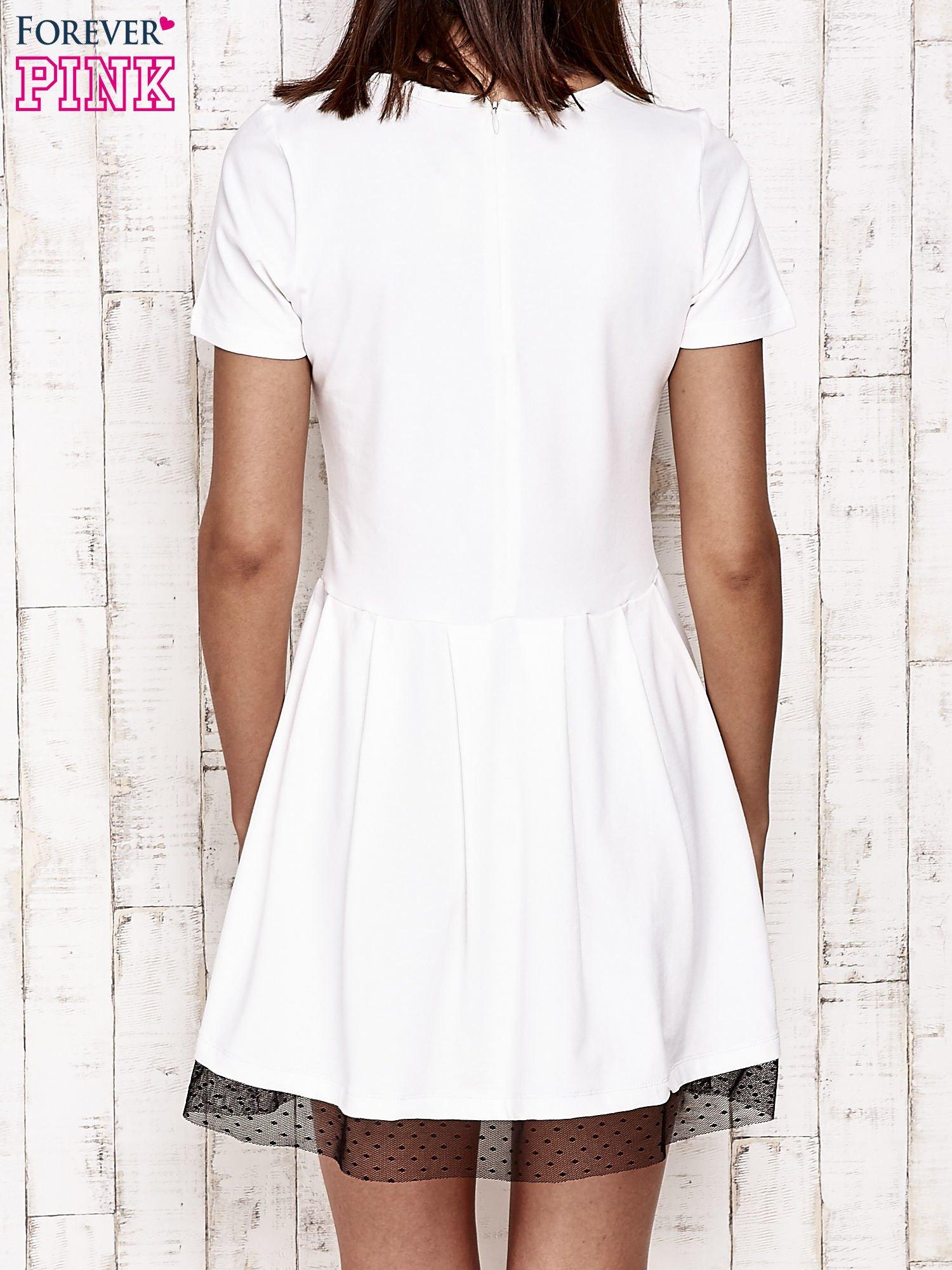 Ecru sukienka dresowa z tiulem w groszki                                  zdj.                                  2