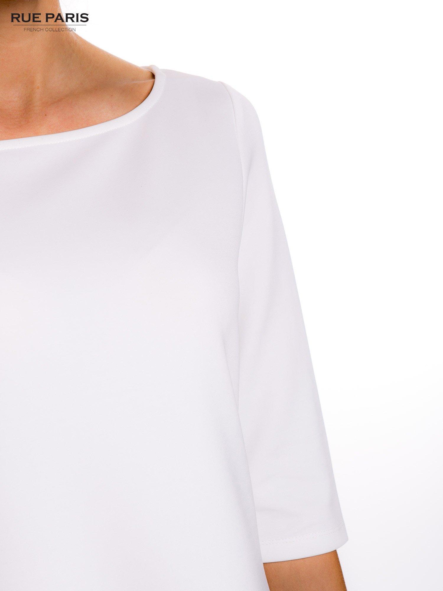 Ecru sukienka z obniżoną talią o rękawie długości 3/4                                  zdj.                                  5