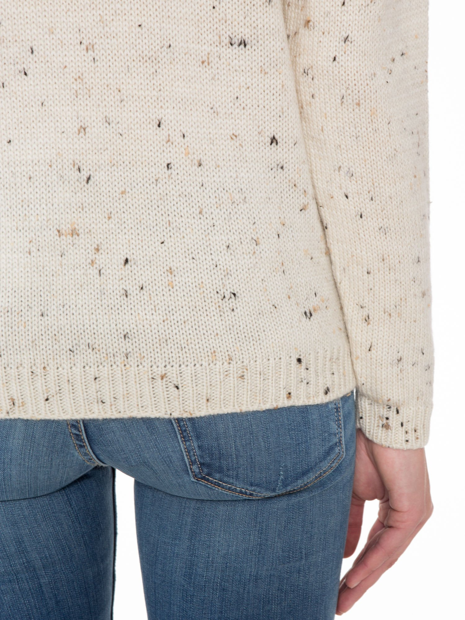 Ecru sweter z nadrukiem kota                                  zdj.                                  8