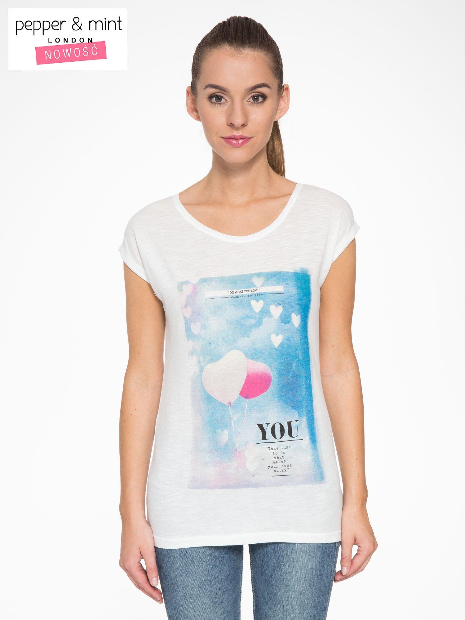 Ecru t-shirt z fotografią balonów                                  zdj.                                  1
