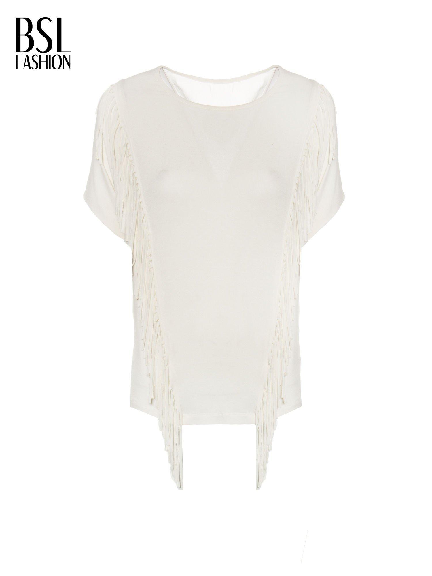 Ecru t-shirt z frędzlami i siateczkowym tyłem                                  zdj.                                  2