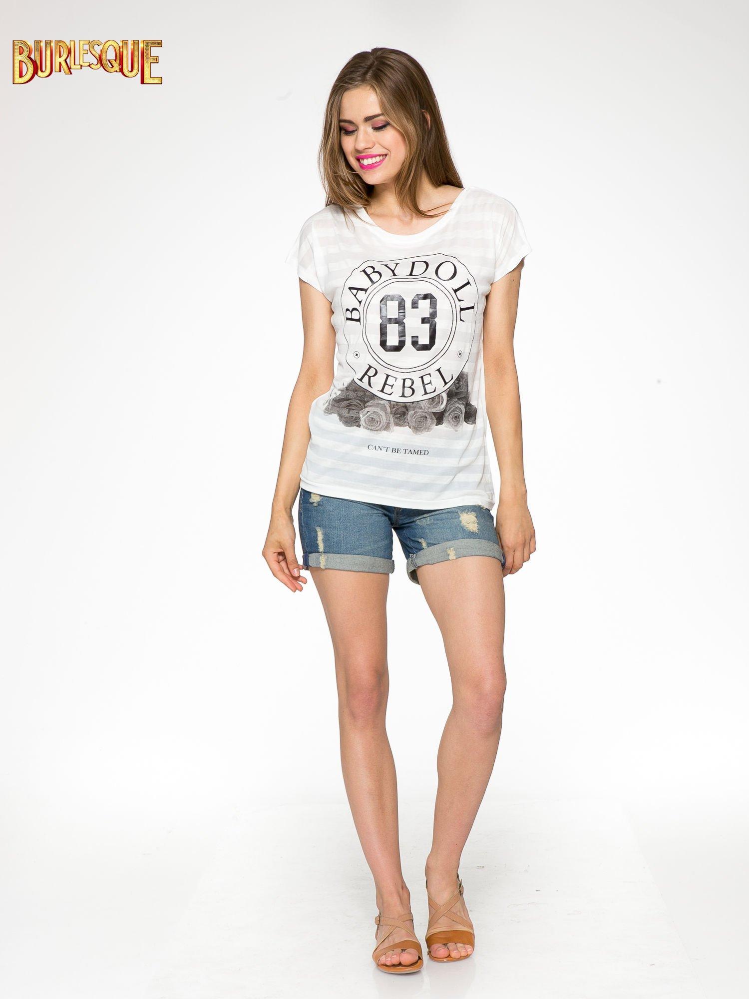 Ecru t-shirt z nadrukiem BABYDOLL REBEL 83                                  zdj.                                  2