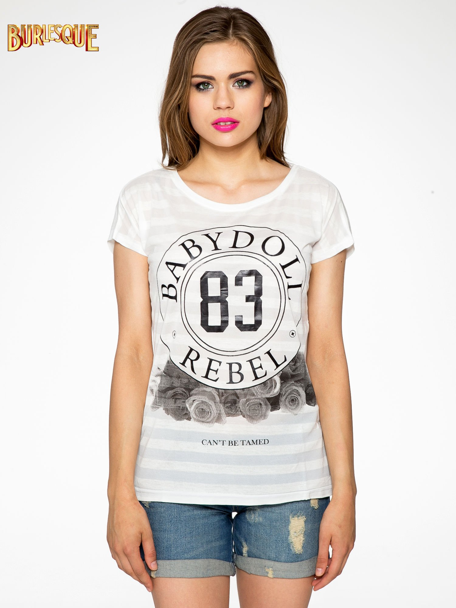 Ecru t-shirt z nadrukiem BABYDOLL REBEL 83                                  zdj.                                  1
