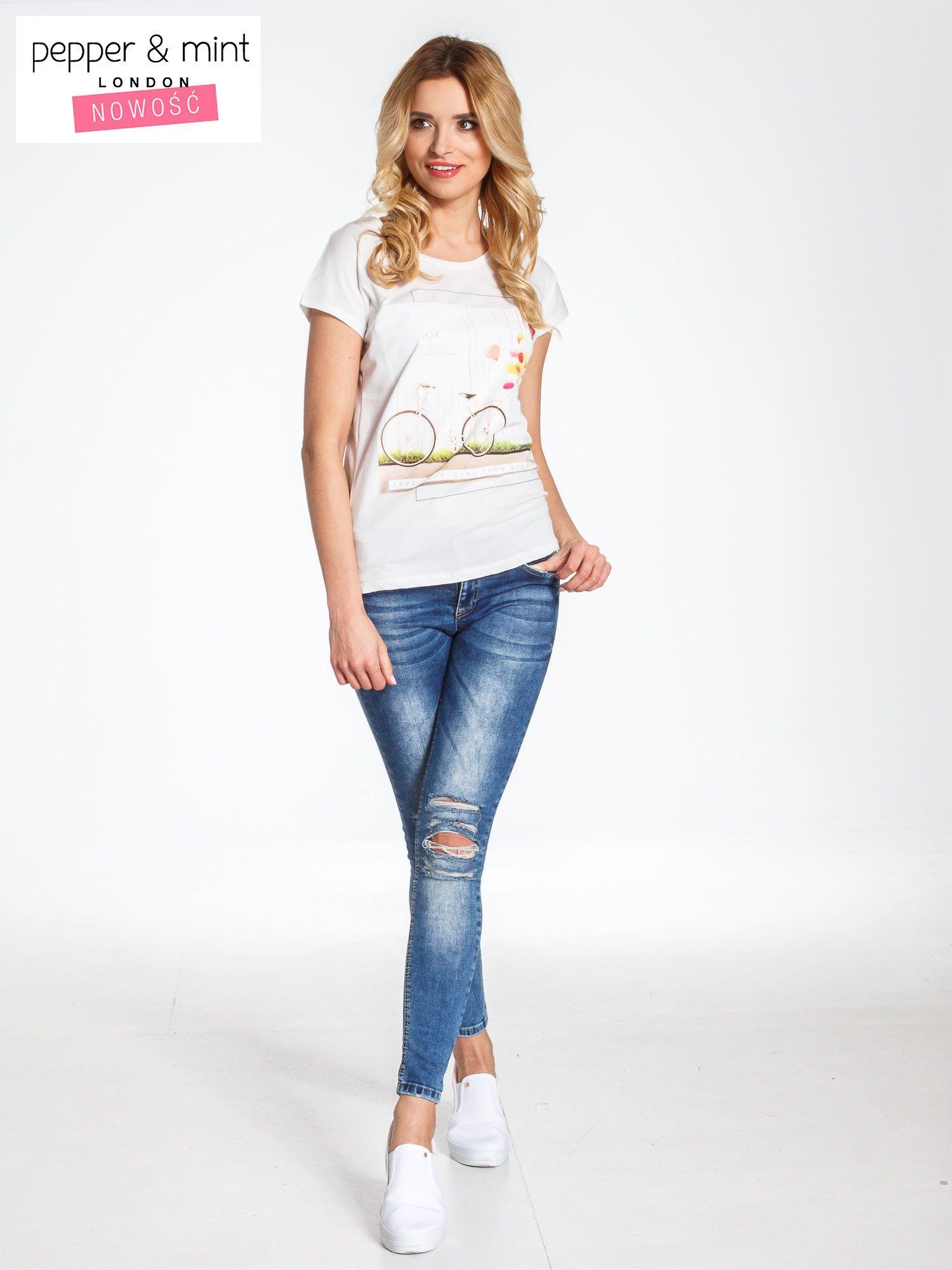 Ecru t-shirt z nadrukiem JOY OF LIFE                                  zdj.                                  7