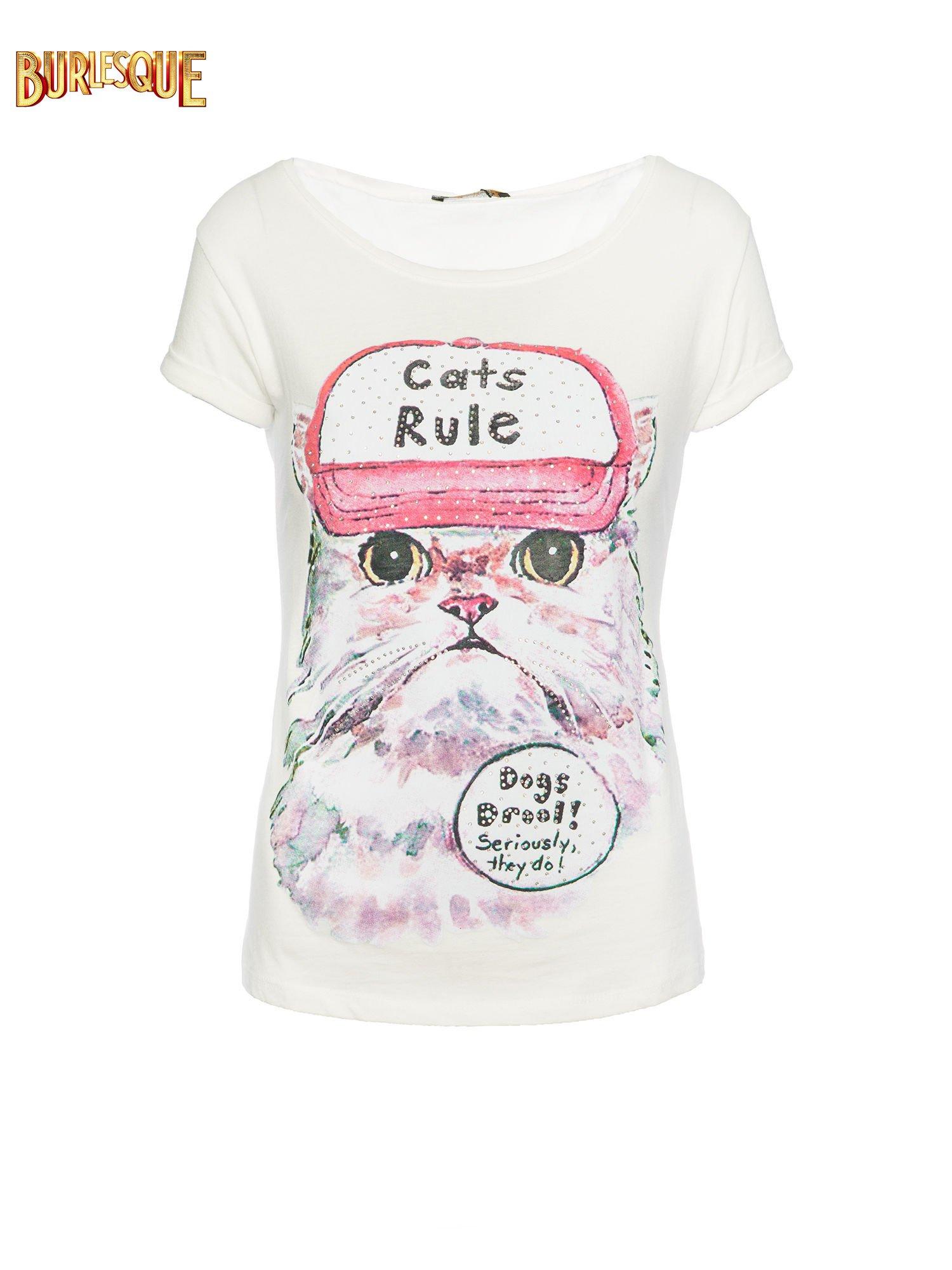 Ecru t-shirt z nadrukiem kota i napisem CATS RULE                                  zdj.                                  1