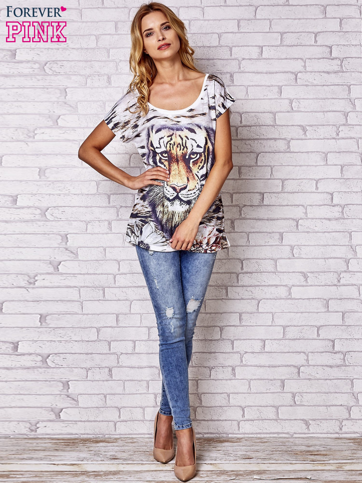 Ecru t-shirt z nadrukiem tygrysa                                  zdj.                                  4
