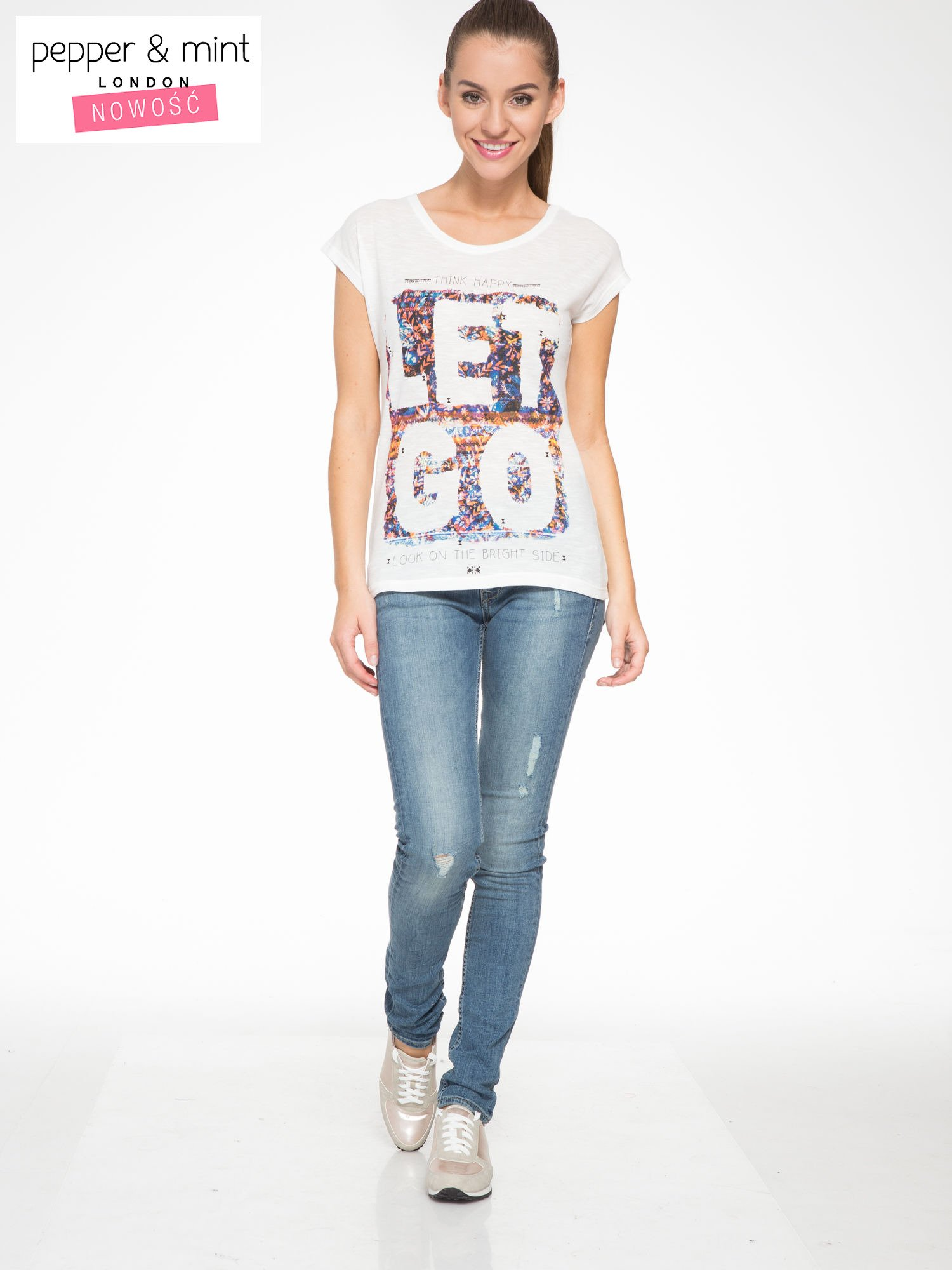 Ecru t-shirt z napisem LET GO                                  zdj.                                  5